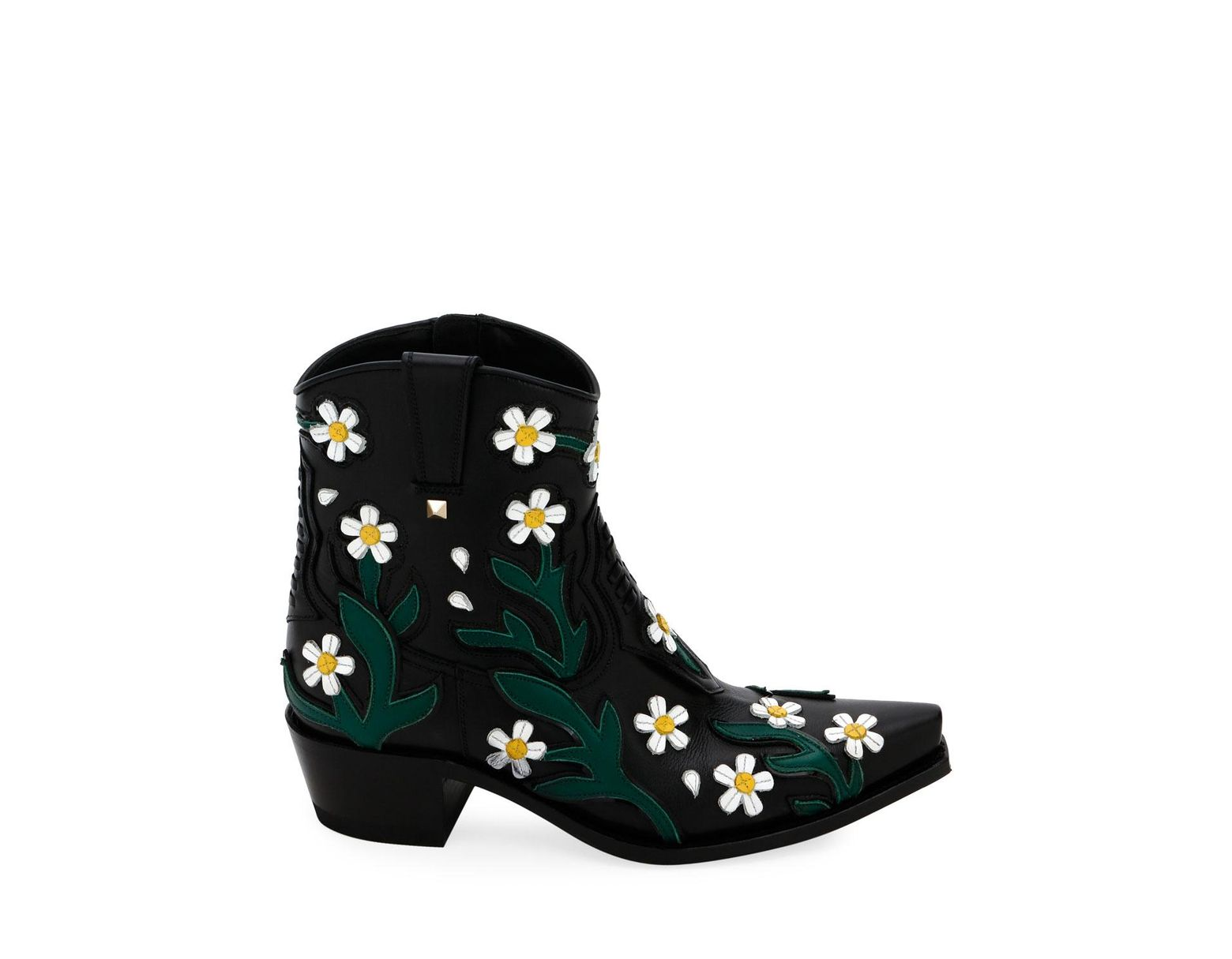 Valentino ranch daisy applique boots in black lyst