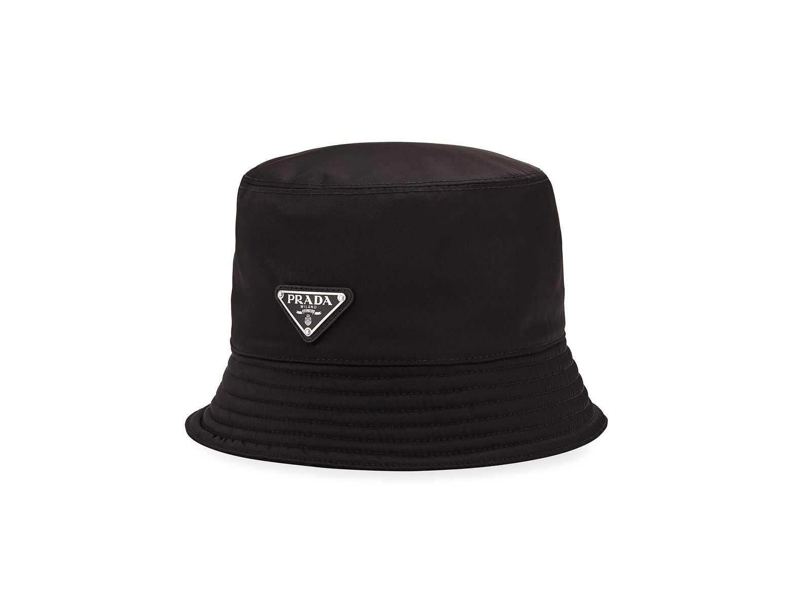 8bc61b21 Prada Men's Nylon Bucket Hat With Logo in Black for Men - Lyst