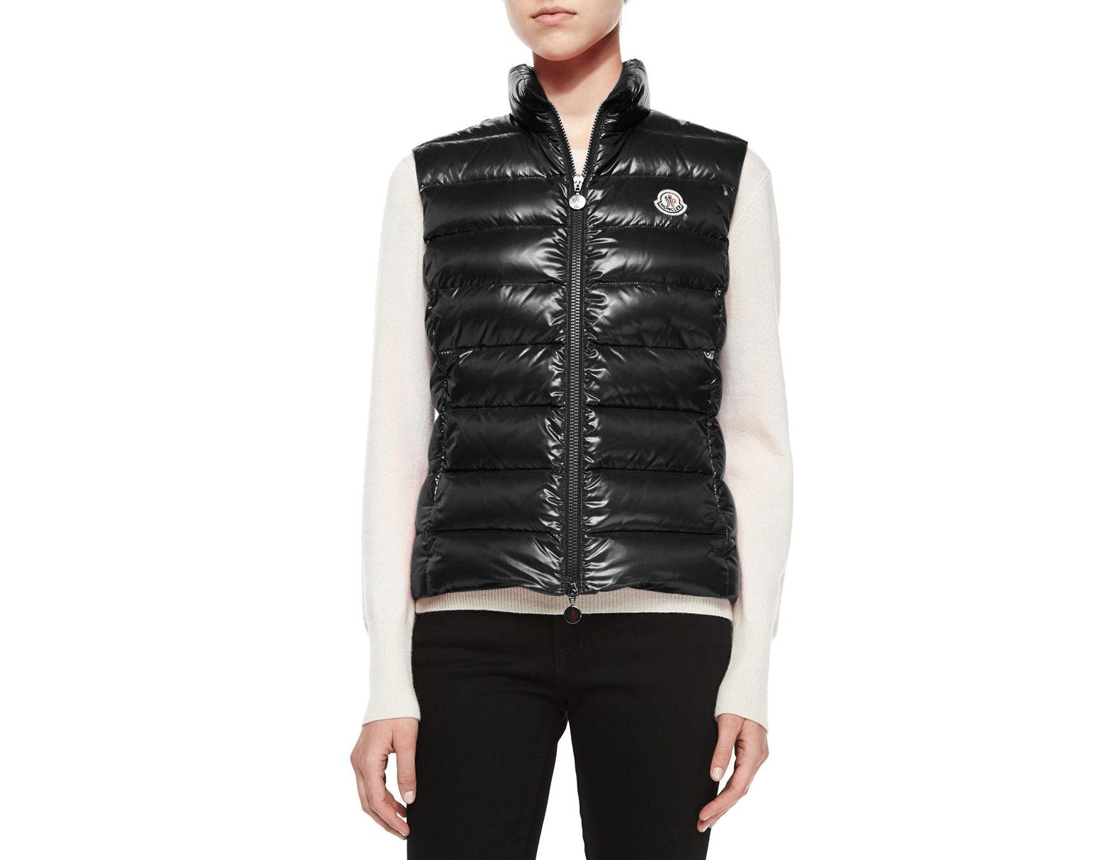 59abe1f38 Moncler Ghany Shiny Quilted Gilet in Black - Save 50% - Lyst