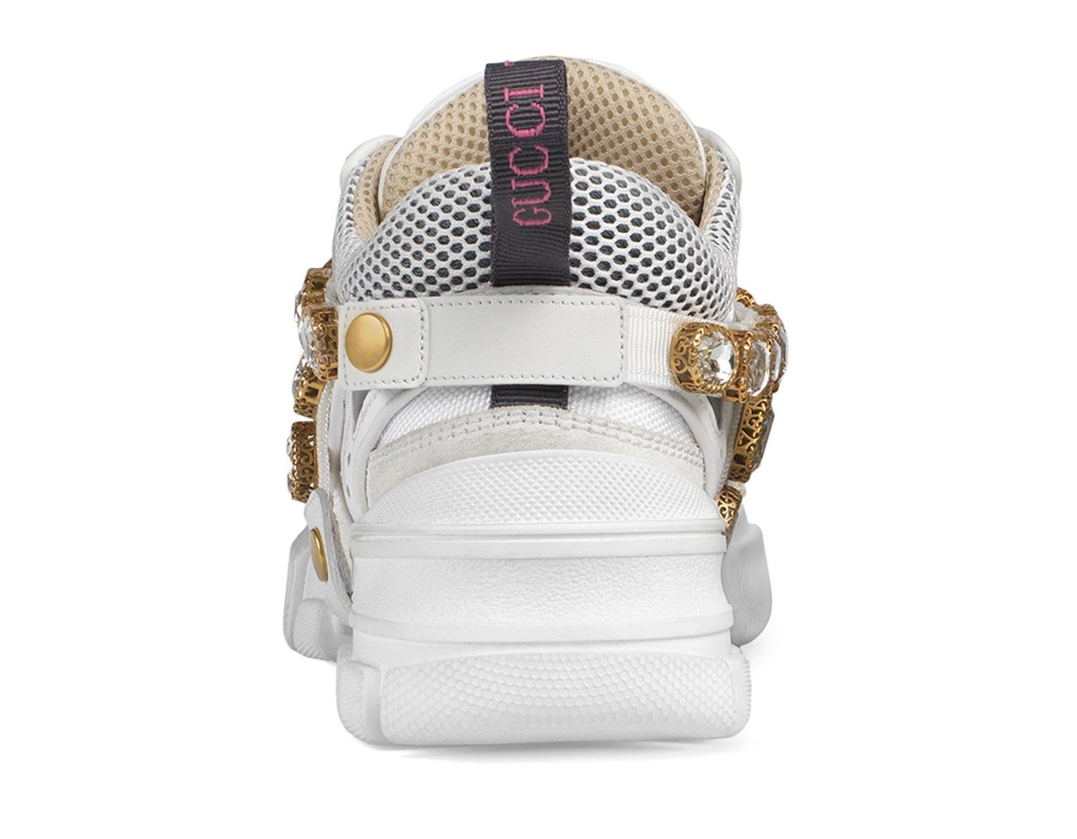 7287b77cb57ce Lyst - Gucci Flashtrek Sneakers With Removable Crystals in White - Save 40%