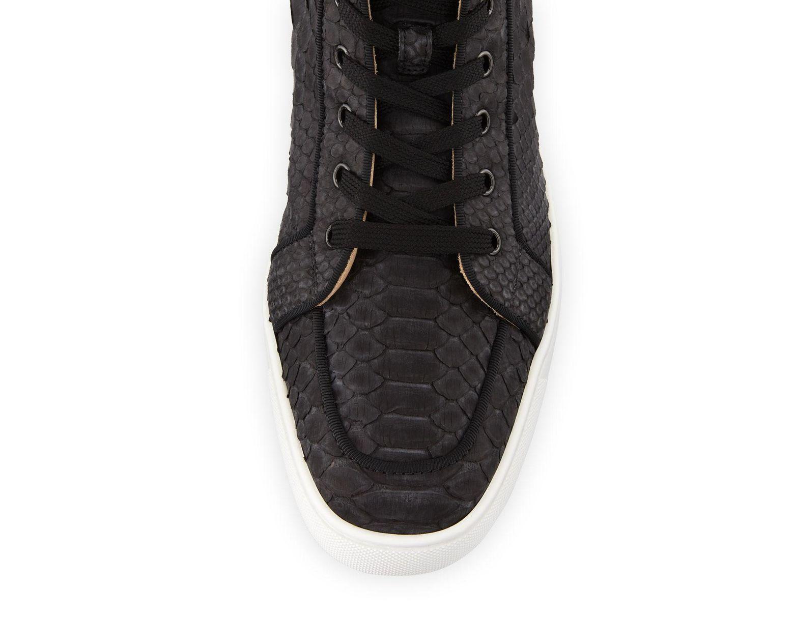 ce5e9193e944 Christian Louboutin Men's Rantus Python High-top Sneakers in Black for Men  - Lyst