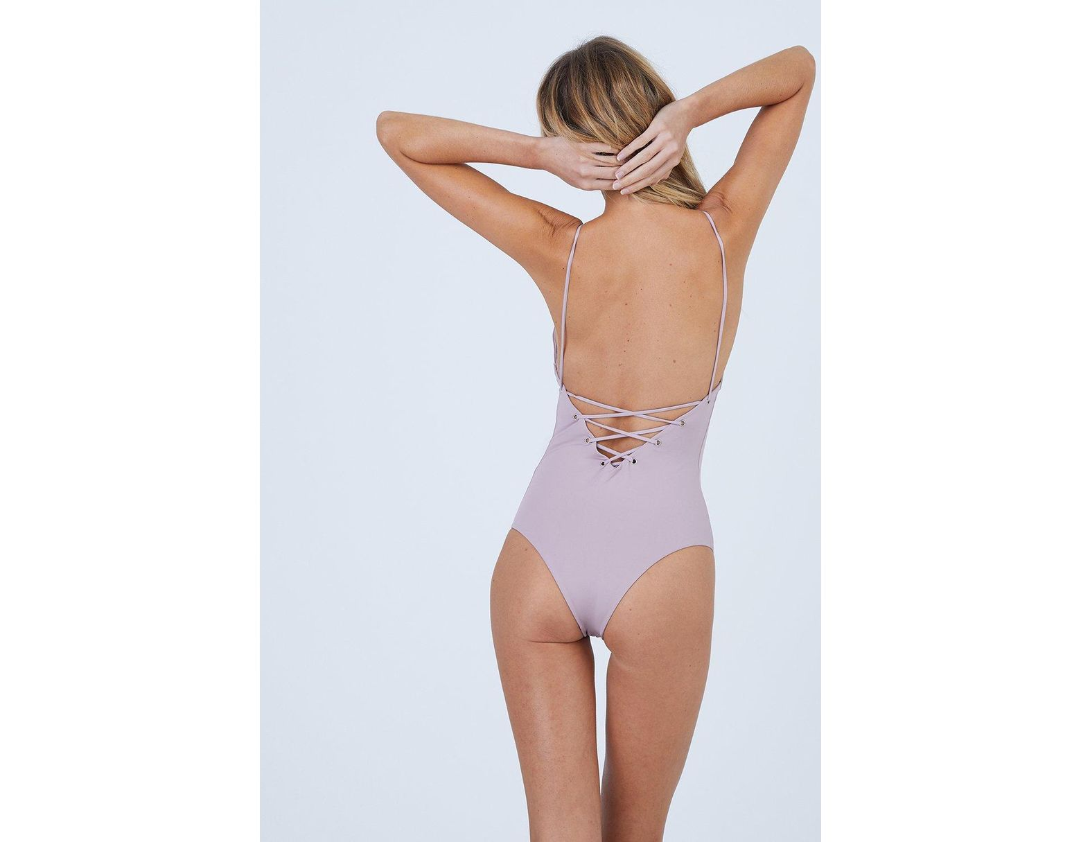 8ff9f1cfc84 Tavik Monahan Lace Up One Piece Swimsuit - Deauville Mauve Pink in Pink -  Lyst