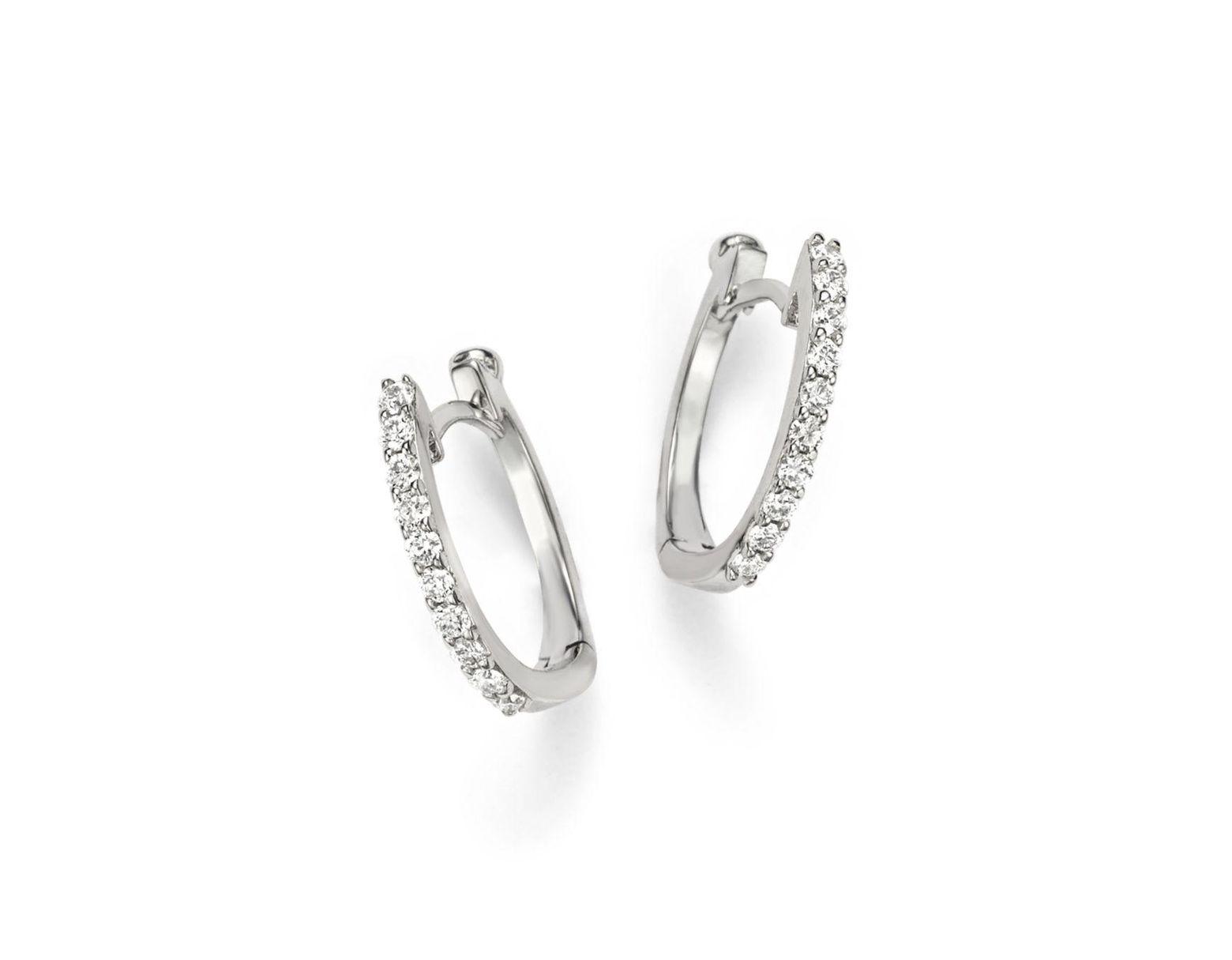 7d4426de5a7101 Roberto Coin 18k White Gold Small Diamond Hoop Earrings in Metallic - Lyst
