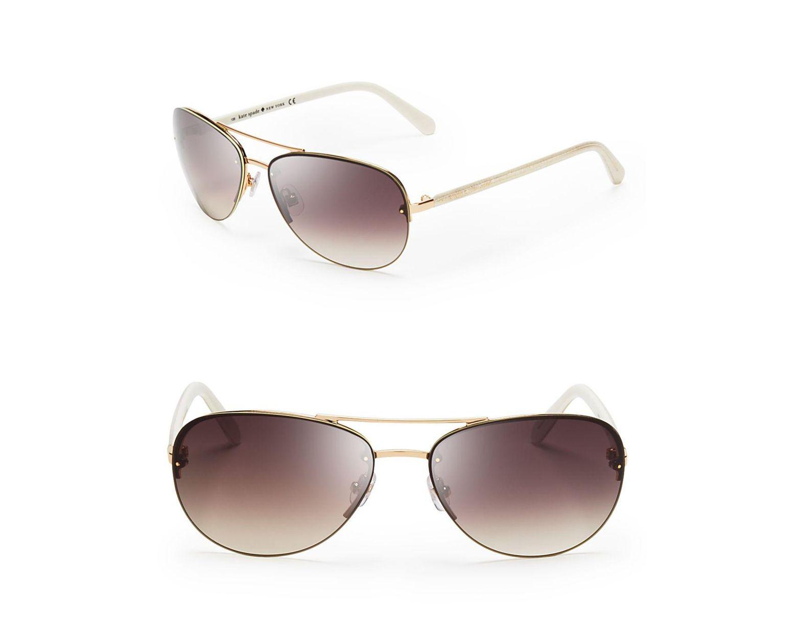 eeceefa3b Kate Spade Women's Beryl Aviator Sunglasses in White - Save 6% - Lyst