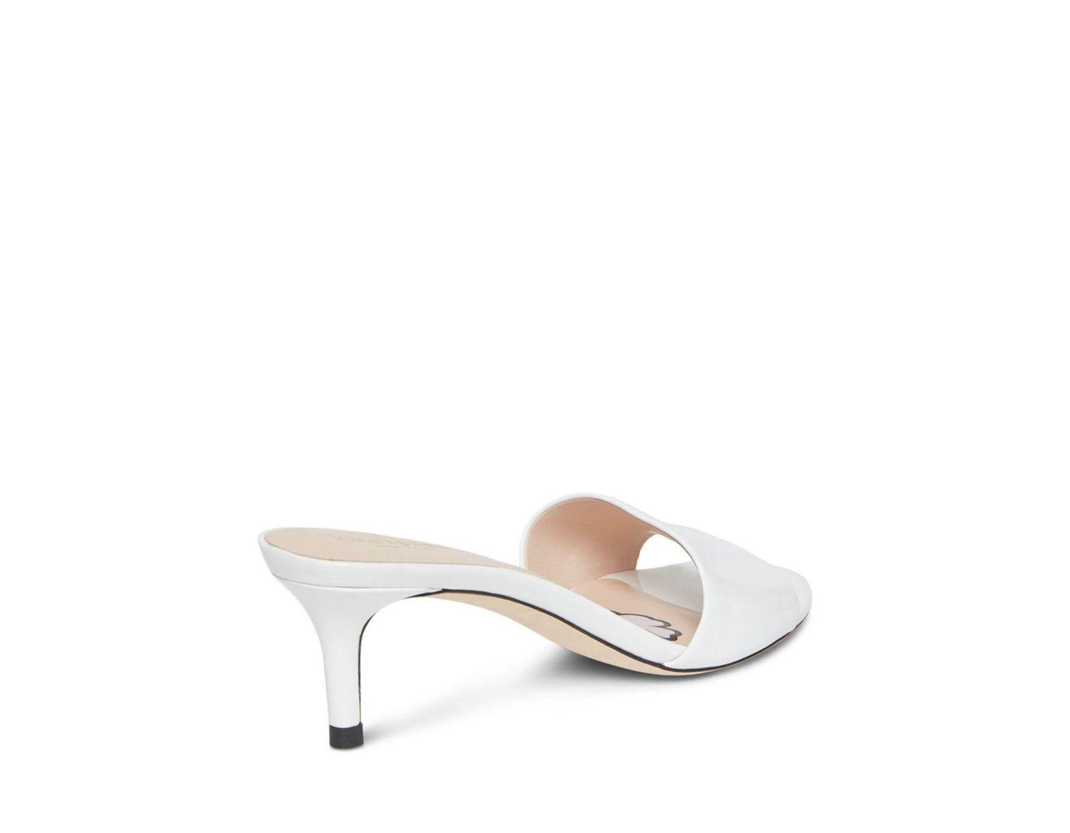 c4f46db8f Kate Spade Women's Savvi Kitten Heel Slide Sandals in White - Lyst