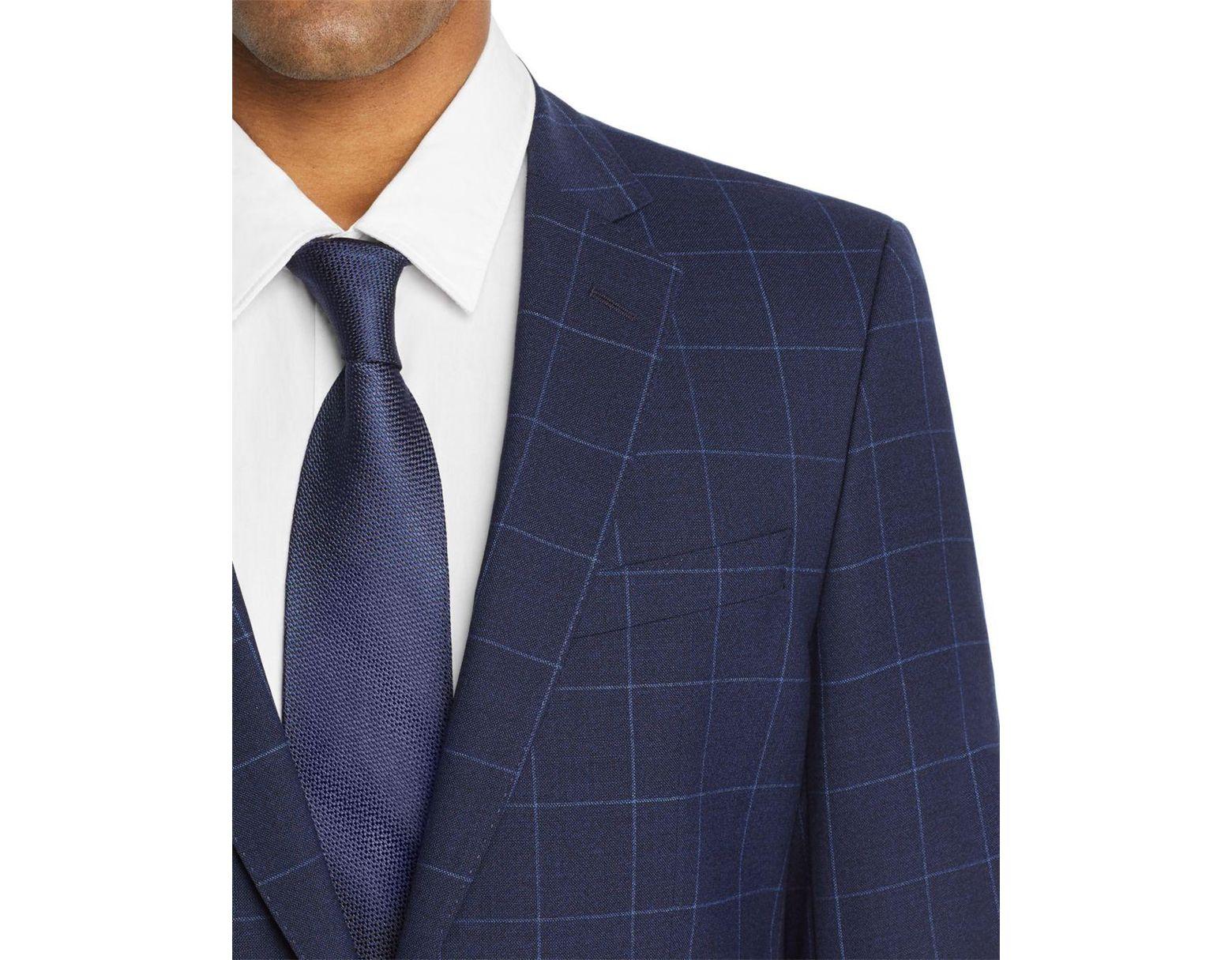 6afc64b7 BOSS Boss Huge/genius Windowpane Slim Fit Suit in Blue for Men - Lyst