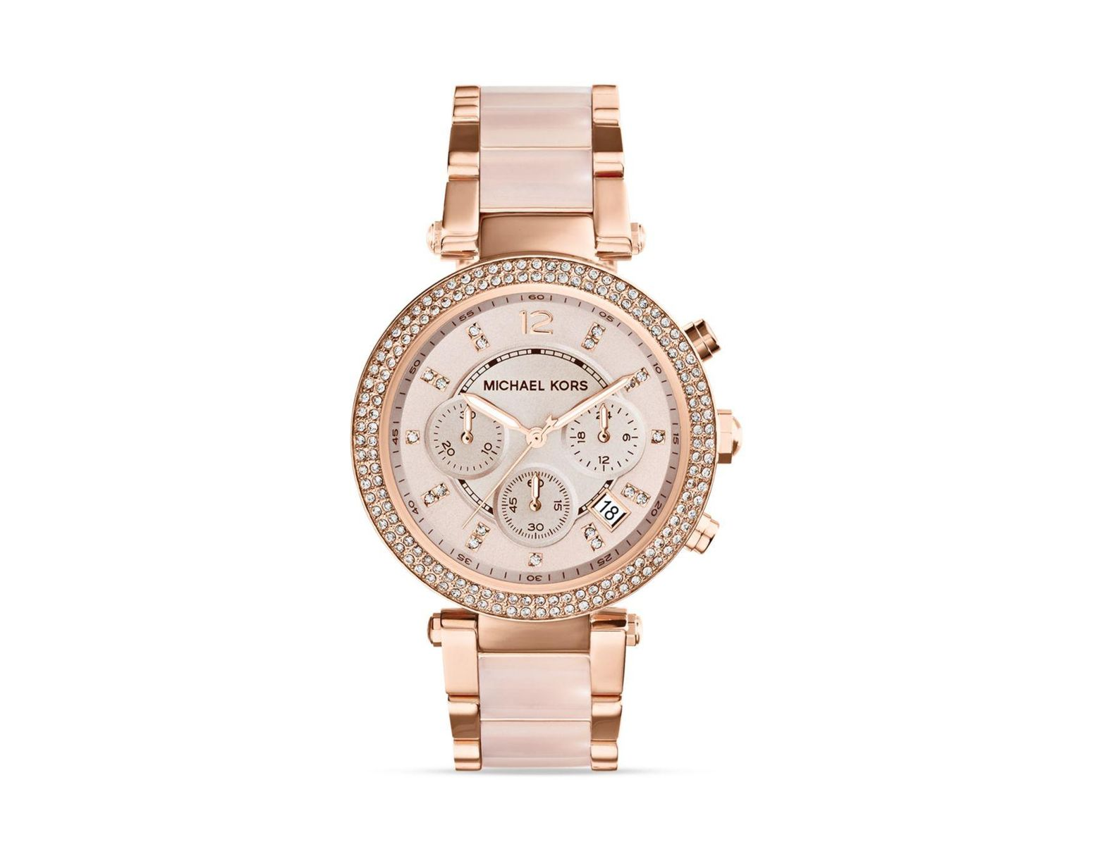 9a43234d7a Michael Kors Parker Rose Gold-tone Blush Acetate Watch in Pink - Save 39% -  Lyst