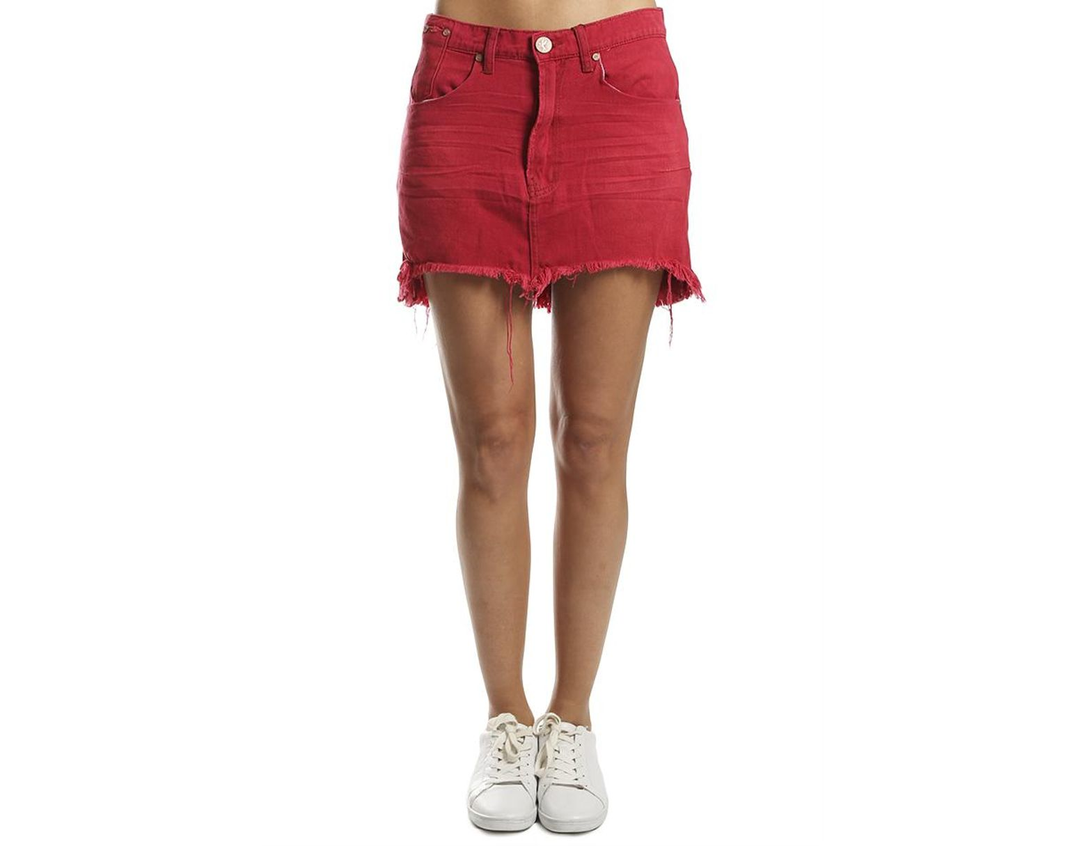 3c5648f9591a One Teaspoon Vanguard Denim Skirt in Red - Save 60% - Lyst