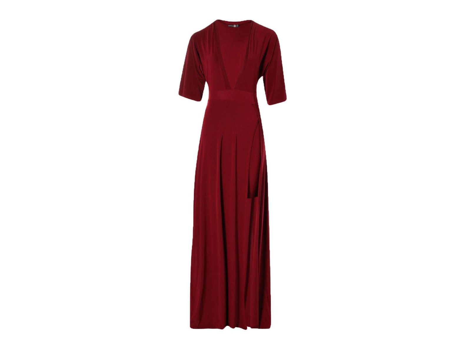 637c4cf41306 Boohoo Slinky Plunge Kimono Sleeve Maxi Dress in Natural - Lyst
