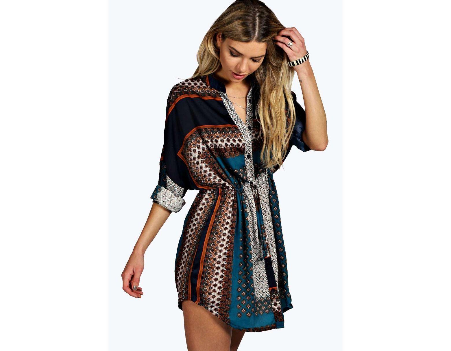 63fb4ba3c7459 Boohoo Paisley Shirt Dress in Blue - Lyst