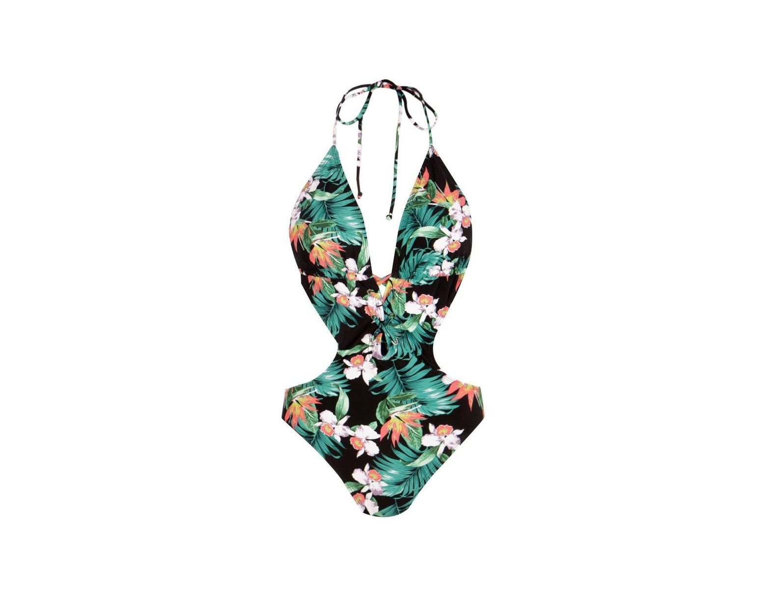 5f85d222121 Boohoo Tropical Flower Lace Up Cut Out Swimsuit in Black - Lyst