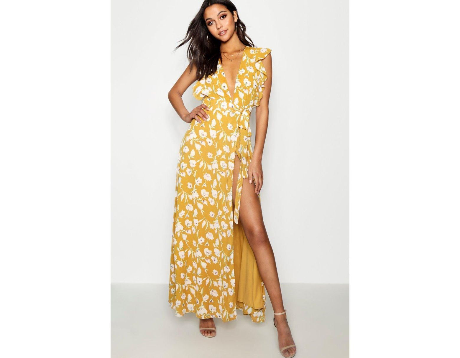 ade4e6e8ce2 Boohoo Floral Frill Detail Wrap Maxi Dress in Yellow - Save 58% - Lyst