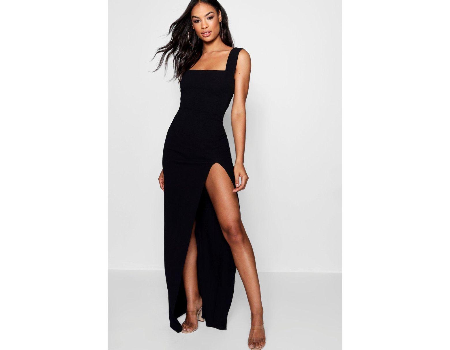 466e760c883c6 Boohoo Tall Square Neck Side Split Maxi Dress in Black - Save 10% - Lyst