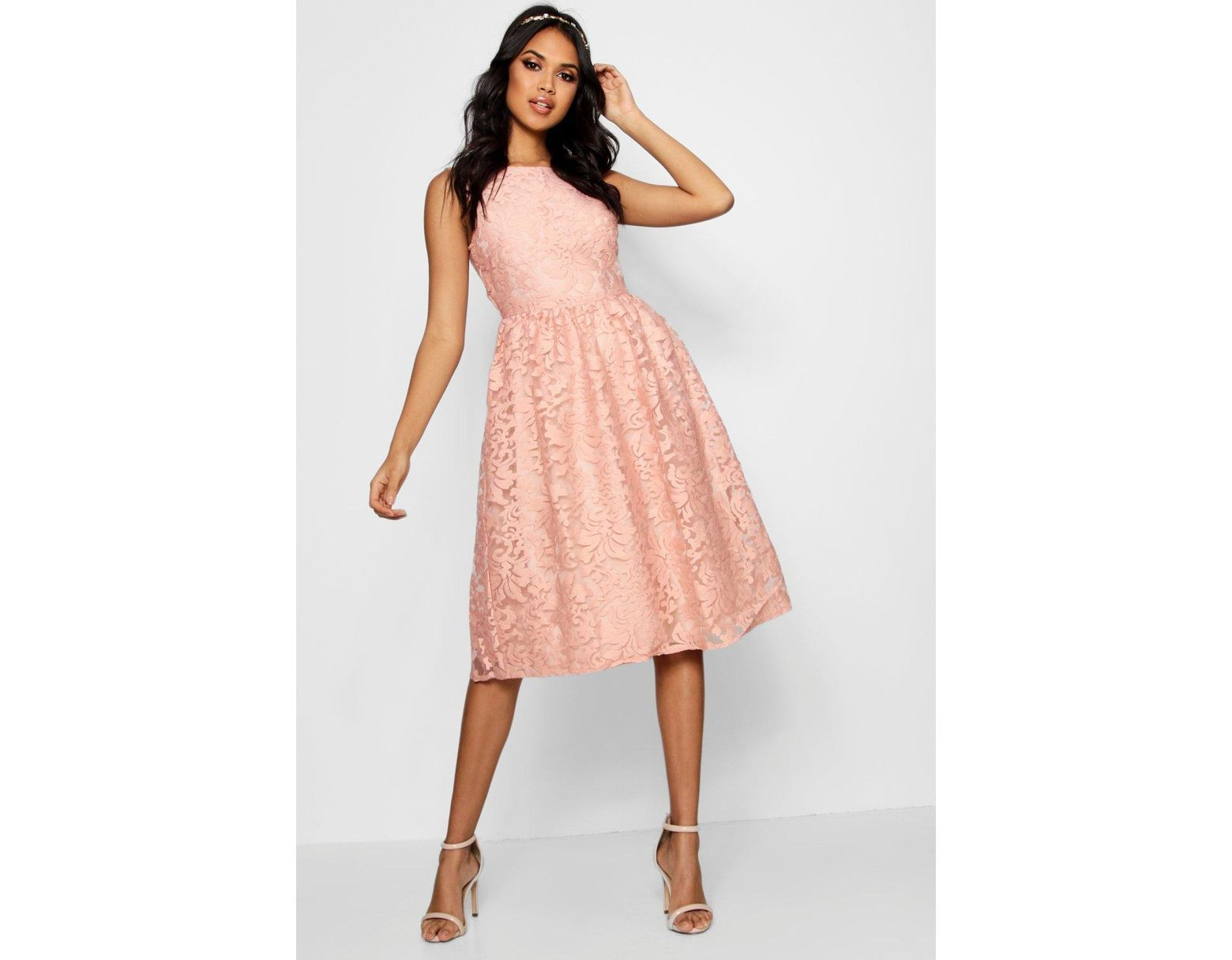 e37e907f4f61 Boohoo Boutique Embroidered Organza Skater Dress in Pink - Lyst