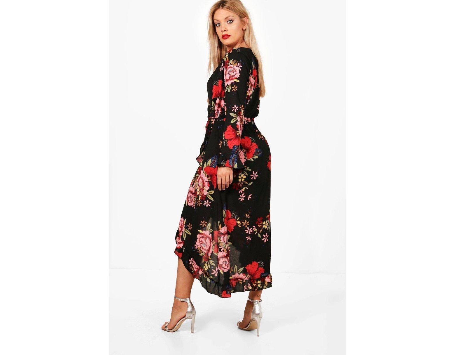 8327beb0466 Lyst - Boohoo Plus Wrap Floral Midi Dress in Black