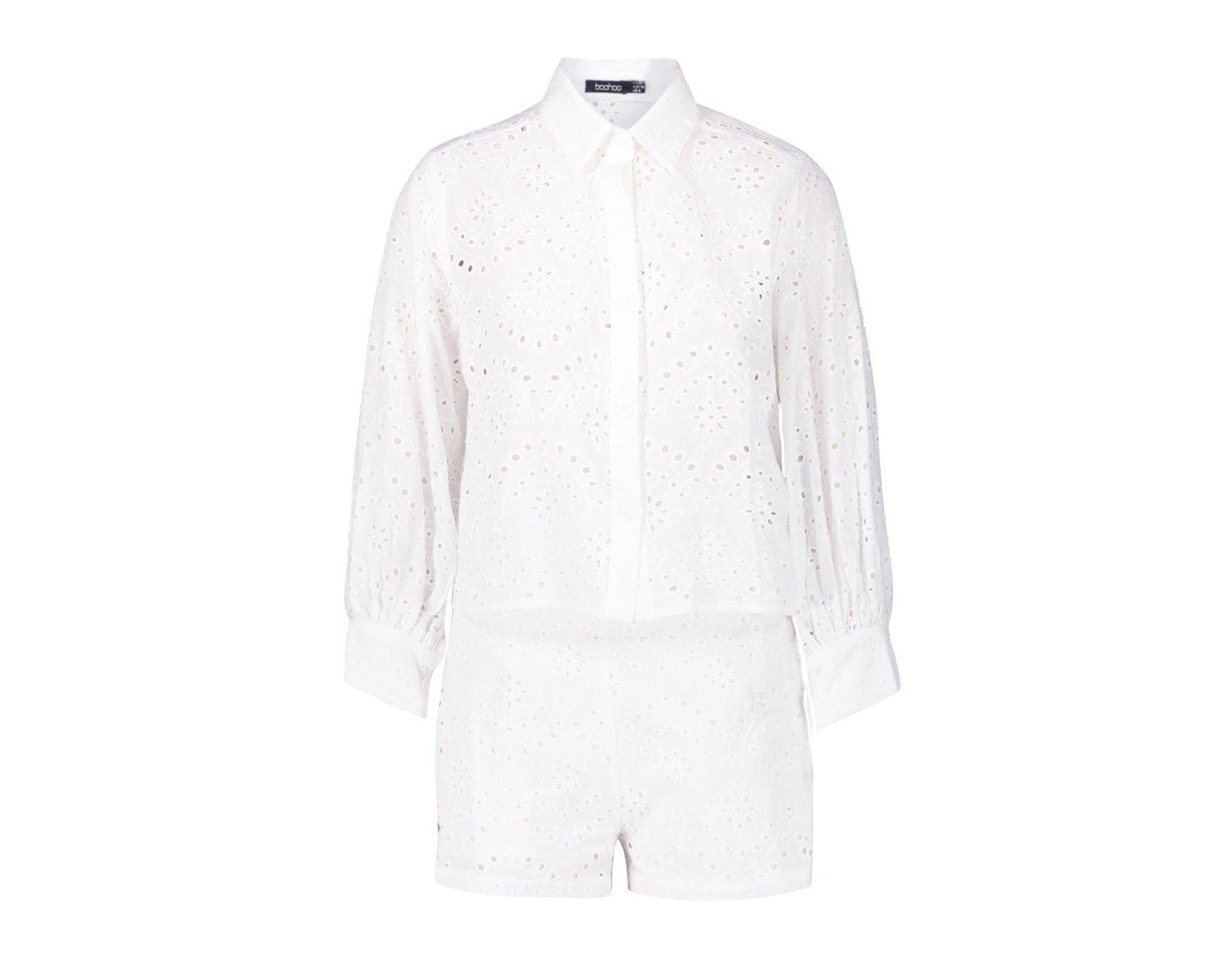 2d390fd7f446 Boohoo Broderie Anglaise Shirt + Short Co-ord in White - Lyst