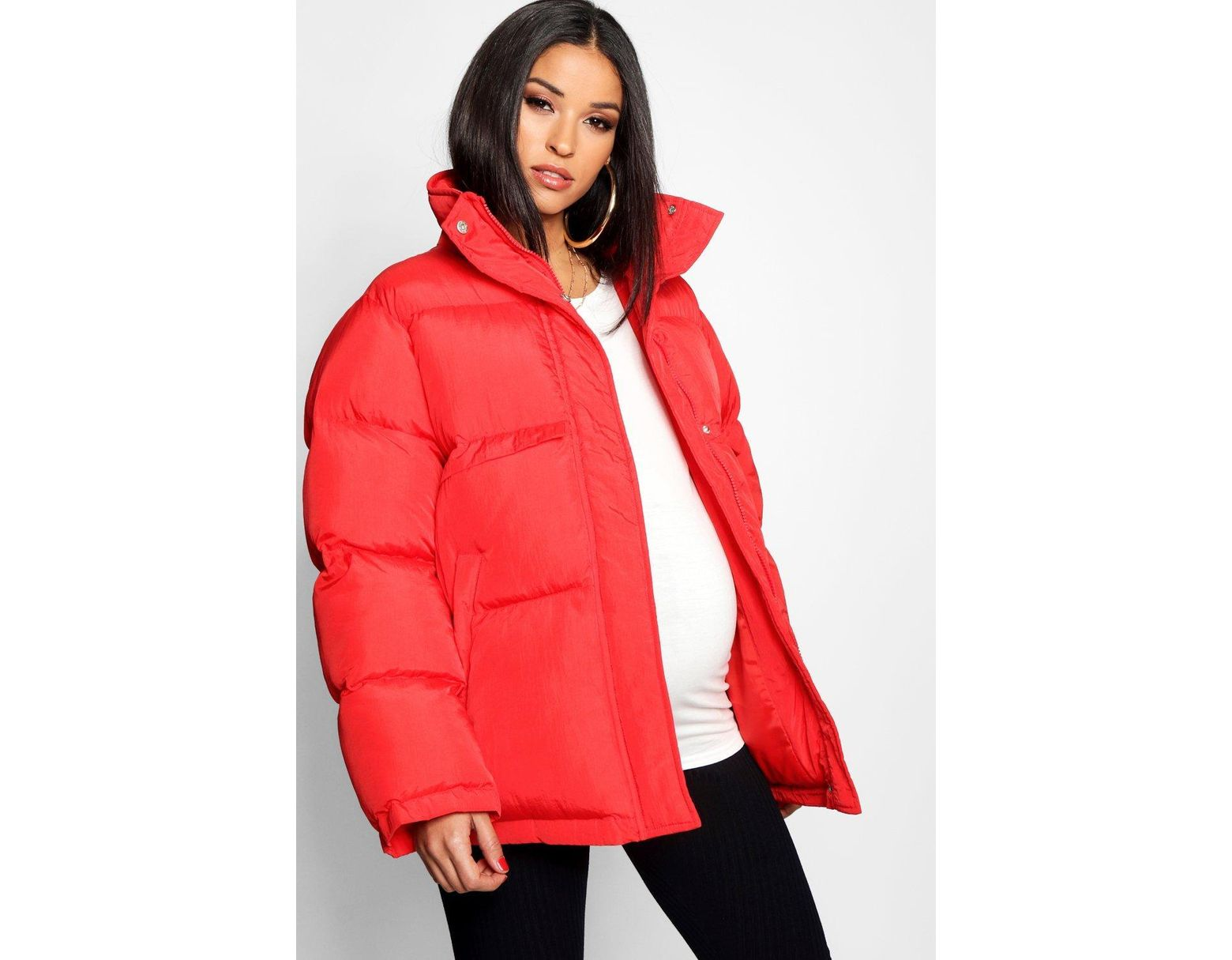 414740150d550 Boohoo Maternity Padded Funnel Neck Coat in Red - Lyst