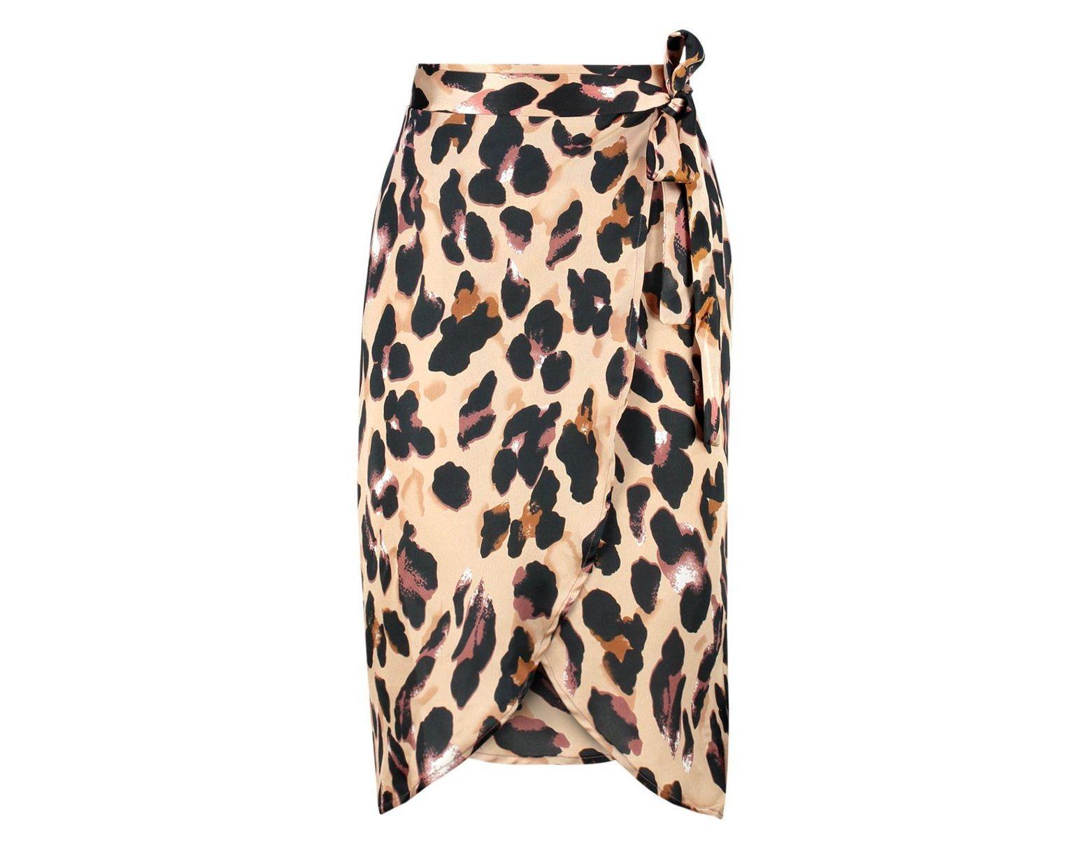 307353ec8c Boohoo Petite Leopard Print Satin Wrap Midi Skirt in Brown - Save 17% - Lyst