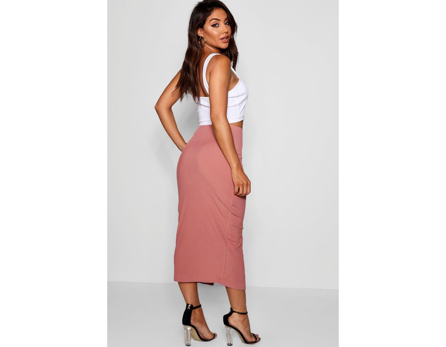 74c2336a92 Boohoo Ribbed Mock Horn Button Through Midaxi Skirt in Black - Lyst