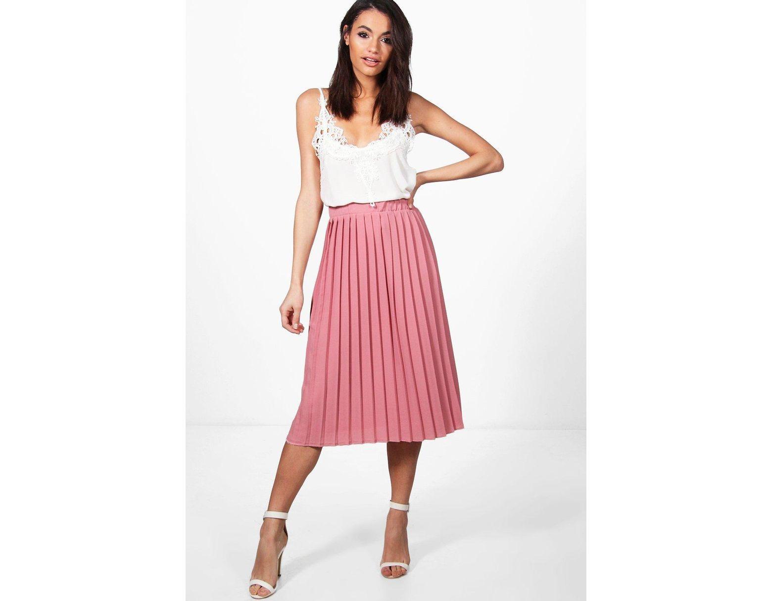 29f8f81af Boohoo Crepe Pleated Midi Skirt in Pink - Save 5% - Lyst