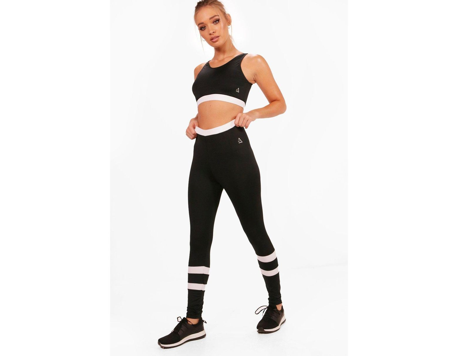 a056f02e10b8c6 Boohoo Fit High Waisted Legging & Sports Bra Set in Black - Lyst