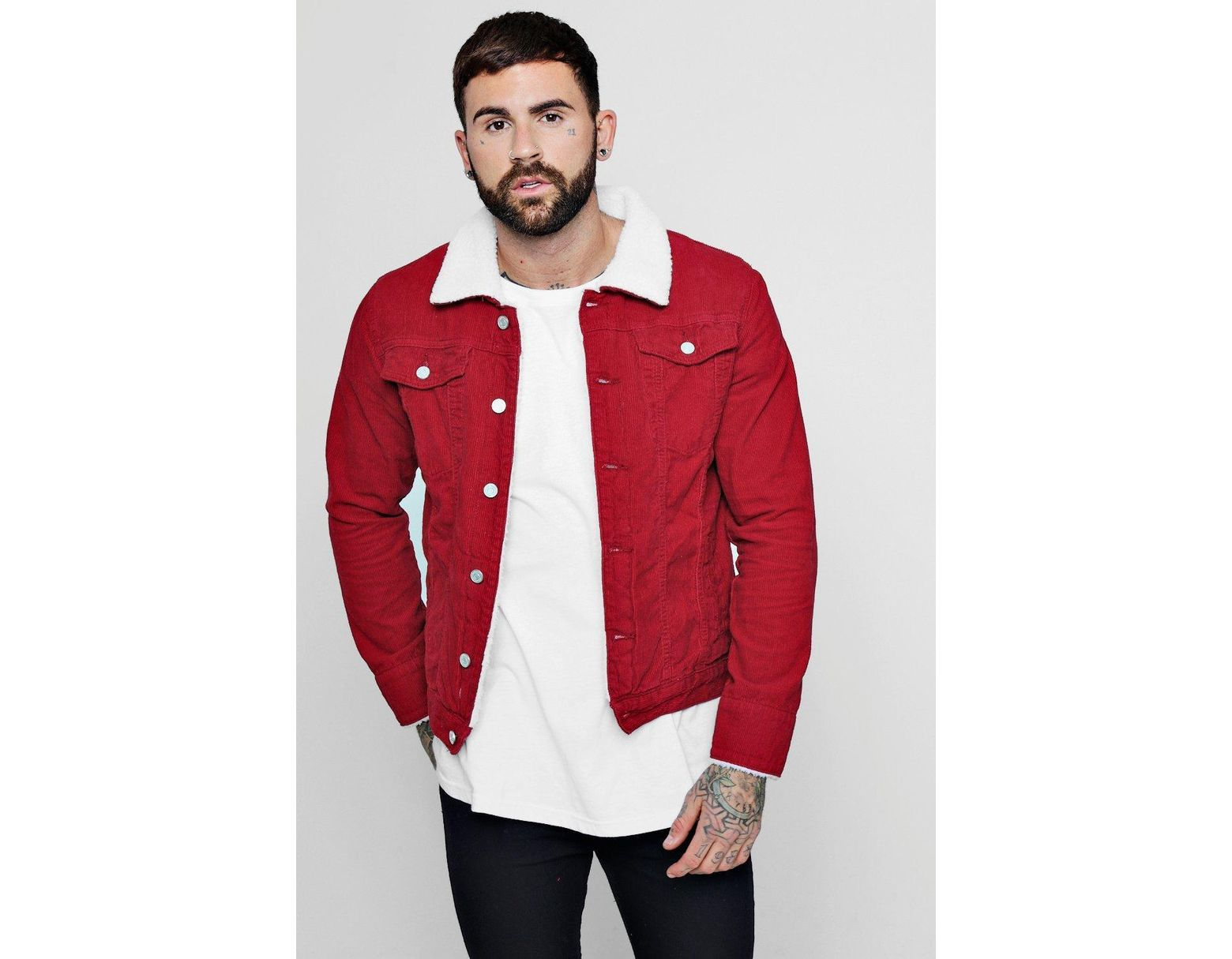 eb54dfc74ea27 BoohooMAN Cord Jacket With Borg Collar in Red for Men - Save 31% - Lyst