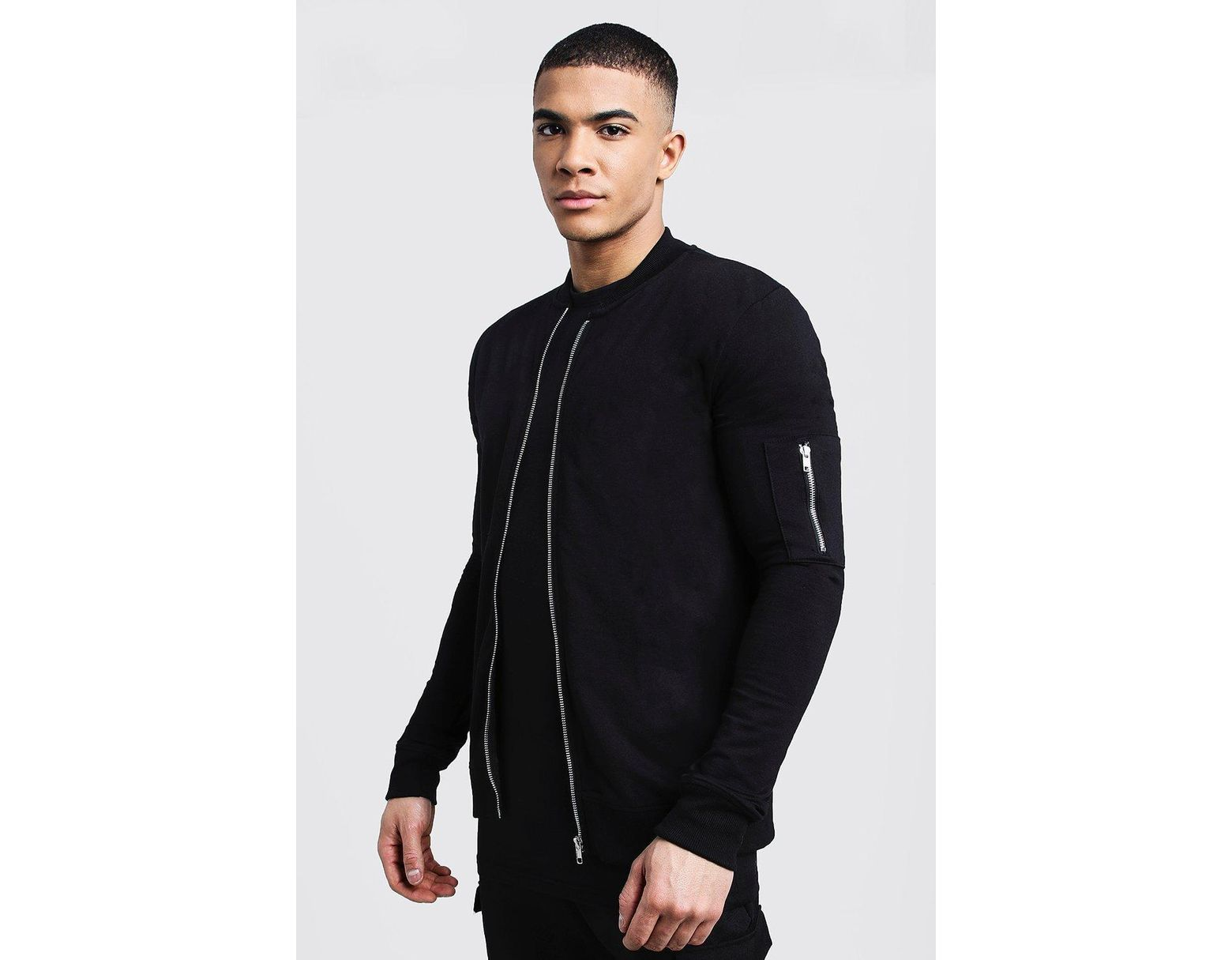 7edc093a6 Men's Black Muscle Fit Ma1 Bomber Jacket