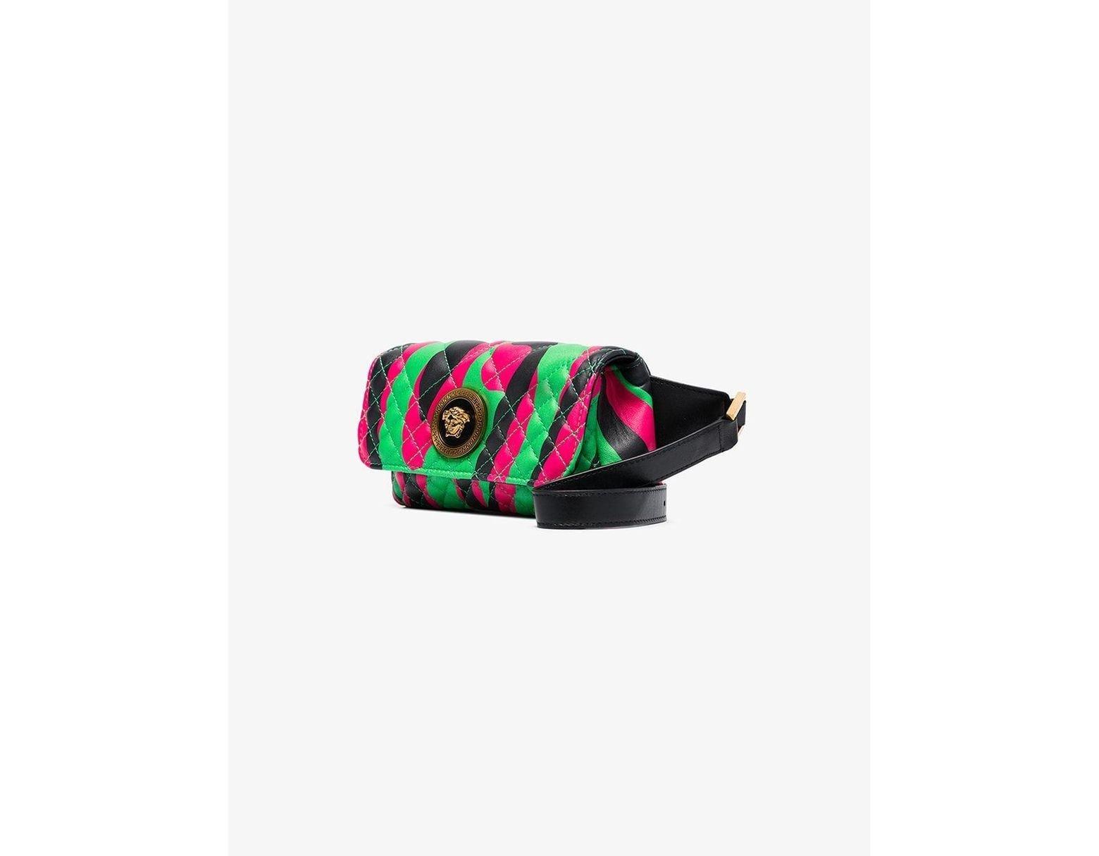 5a464302 Versace Green, Black And Pink Medusa Logo Quilted Leather Belt Bag ...