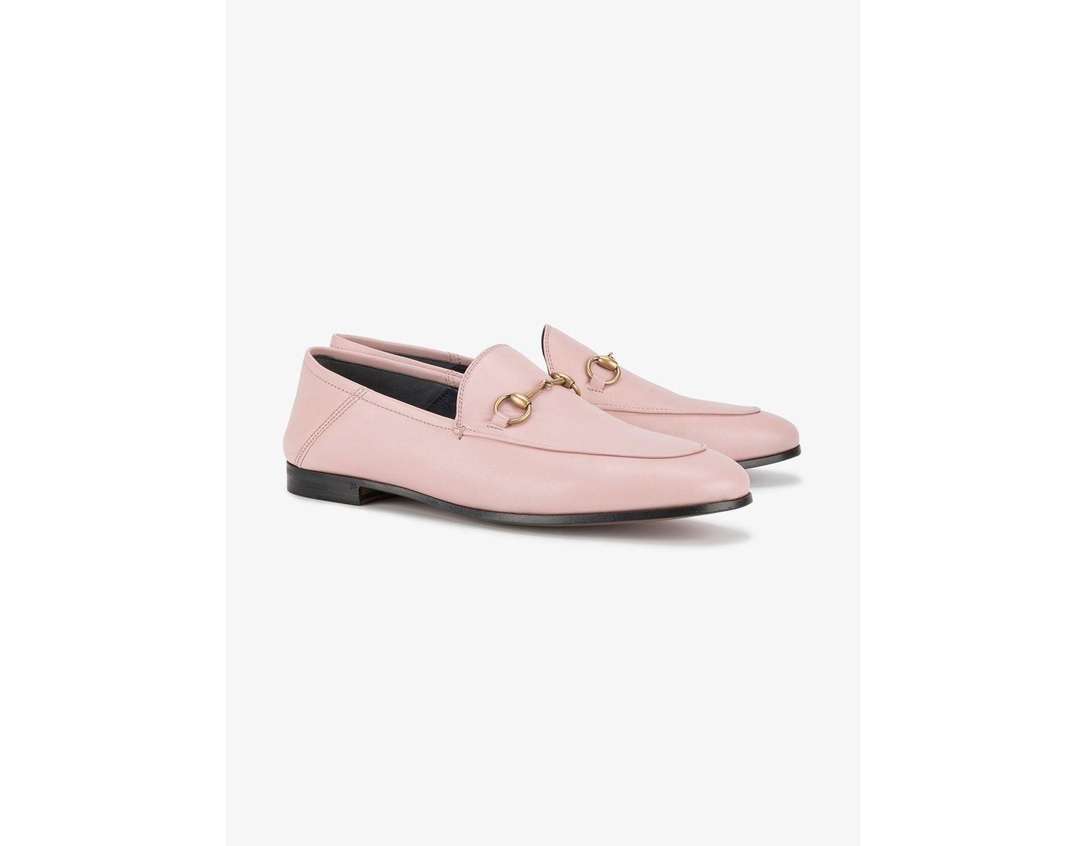 0543b6b4a30 Lyst - Gucci Pink Brixton Leather Loafers in Pink