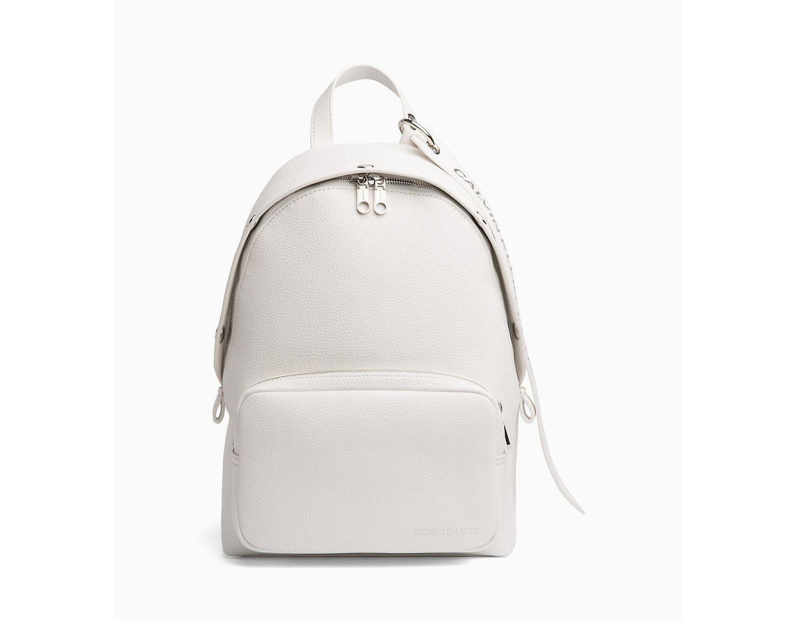 fb41ac39ac5 Calvin Klein Medium Logo Banner Backpack in White - Lyst