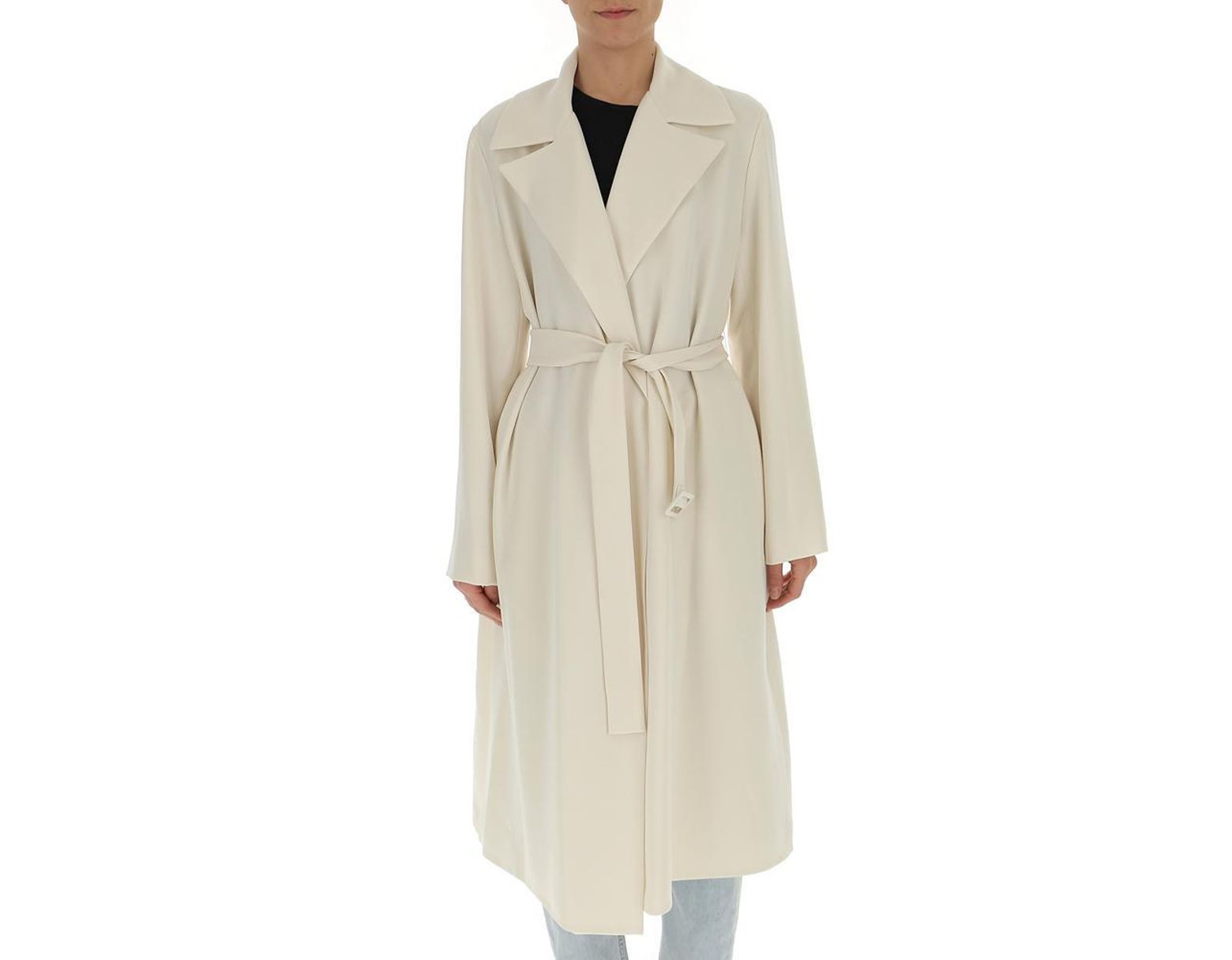 648a32f3a0c Theory Classic Crepe Trench Coat in Natural - Lyst