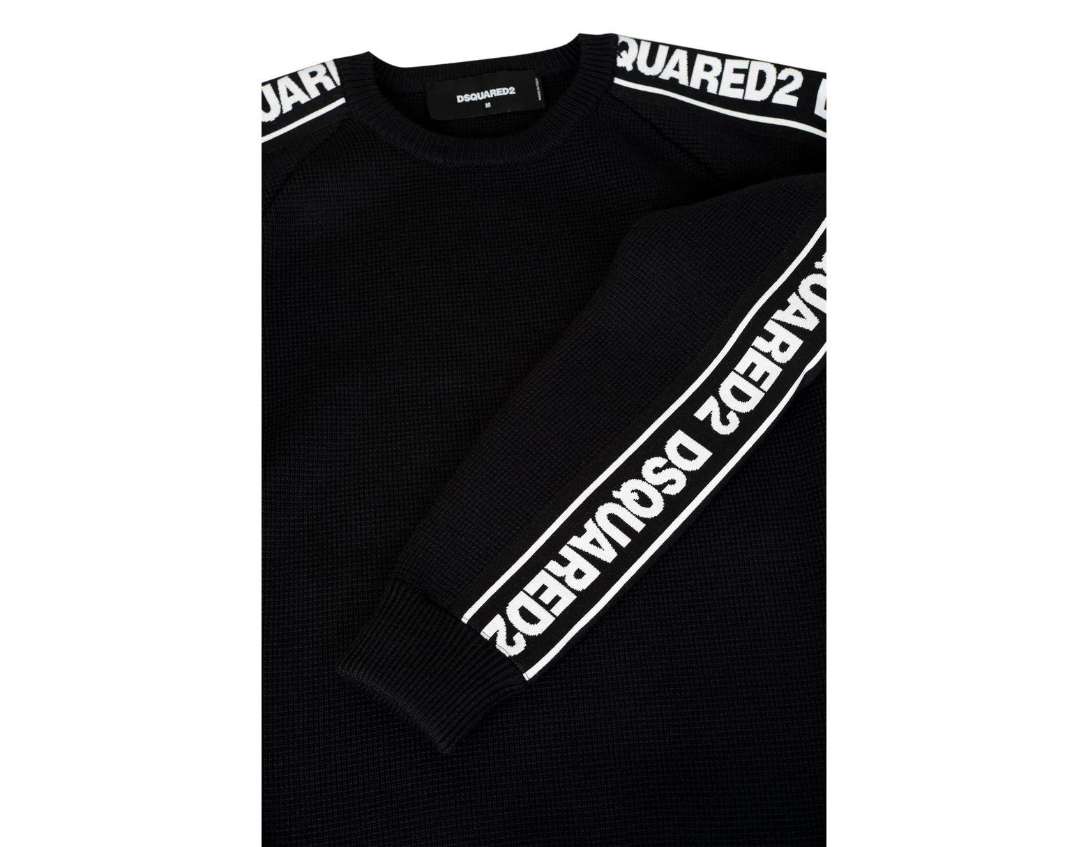 46d4bdc5d6cb6f DSquared² Tape Logo Sleeves Knitted Crew Neck Jumper in Black for Men - Lyst
