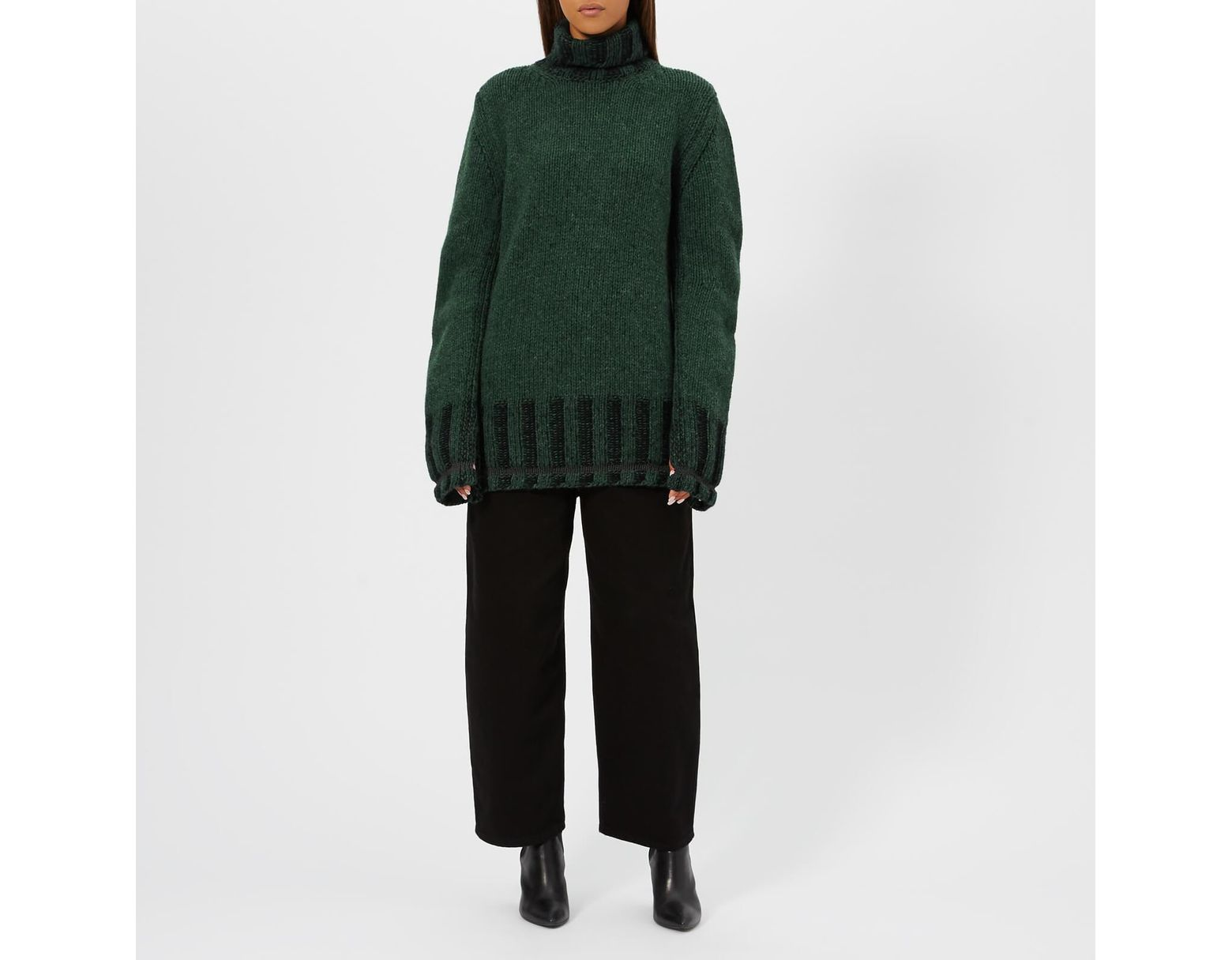 f6bff6e4f2348a MM6 by Maison Martin Margiela Polo Neck Knitted Jumper in Green - Lyst