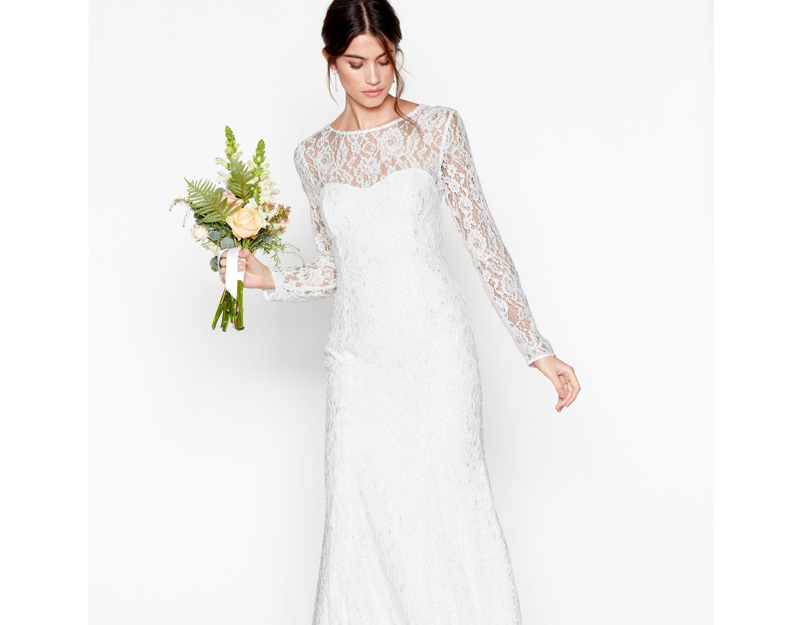 a0efdd3e31f6 Début Ivory Lace 'eleanor' High Neck Long Sleeves Full Length Wedding Dress  in White - Lyst