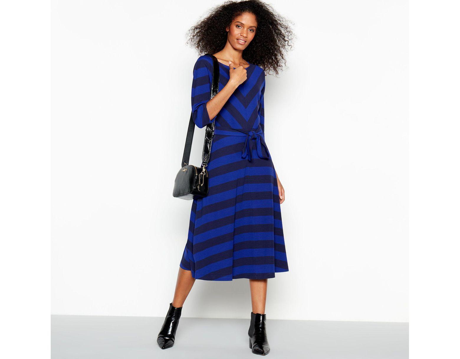 0ba2dc857c3e J By Jasper Conran Blue Chevron Stripe Batwing Knee Length Dress in Blue -  Lyst