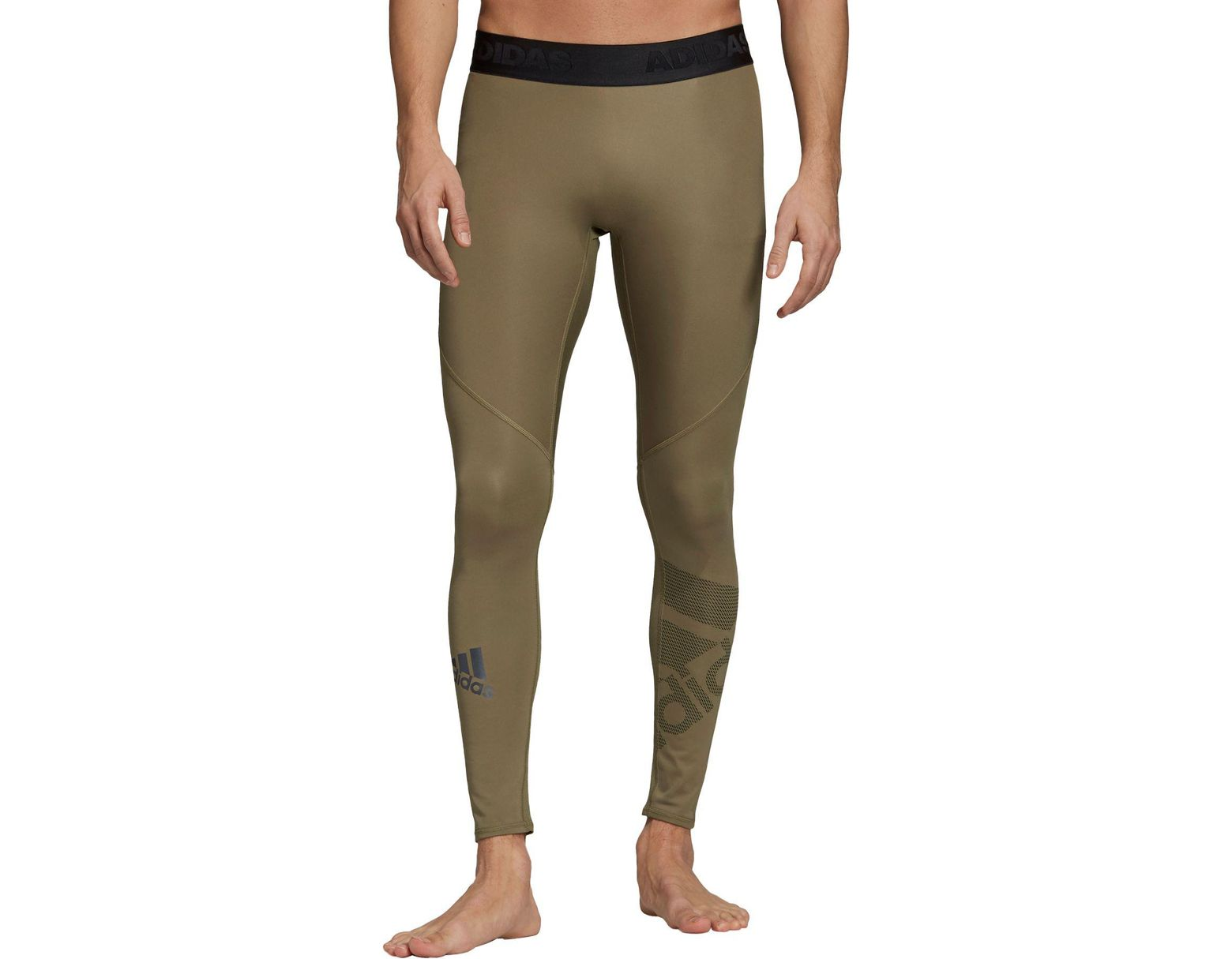 1e636a92b adidas Alphaskin Sport Badge Of Sport Long Tights in Green for Men - Lyst