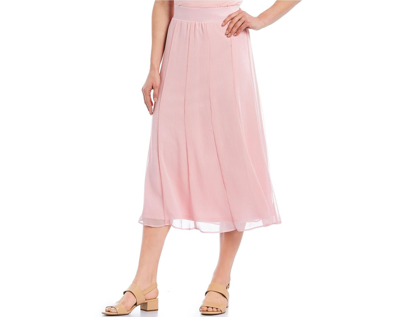Pull On Pink Skirt RdPetite Lyst Size Ruby In Long Chiffon RjqAL34c5S