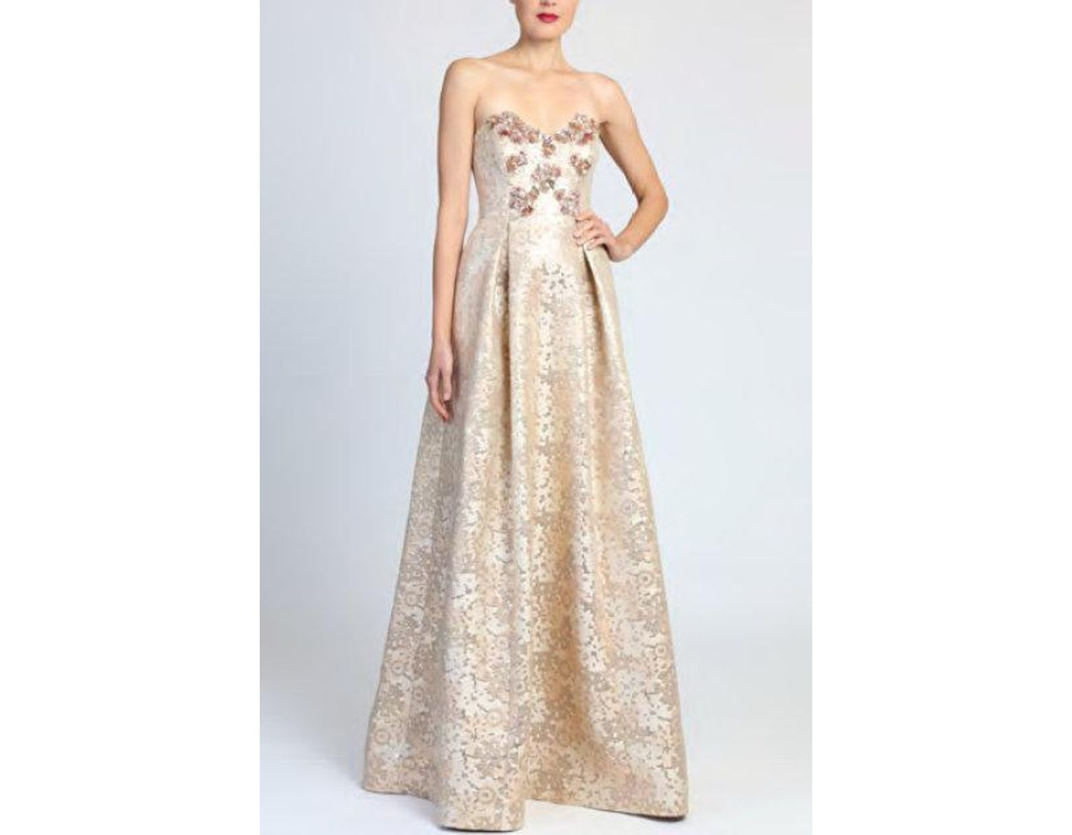 b43135ab6fc Badgley Mischka Rose Gold Strapless Evening Gown in Metallic - Lyst