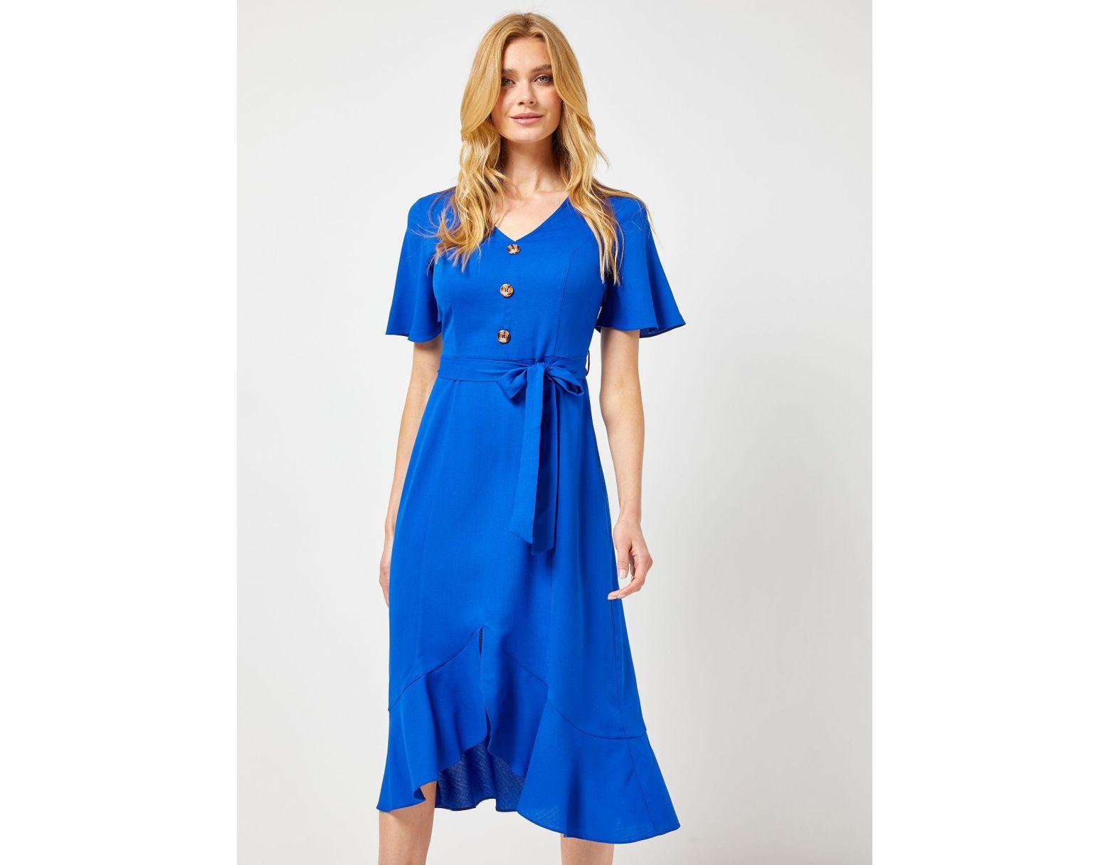 0a96aa5347c5 Dorothy Perkins Cobalt Ruffle Midi Dress in Blue - Lyst