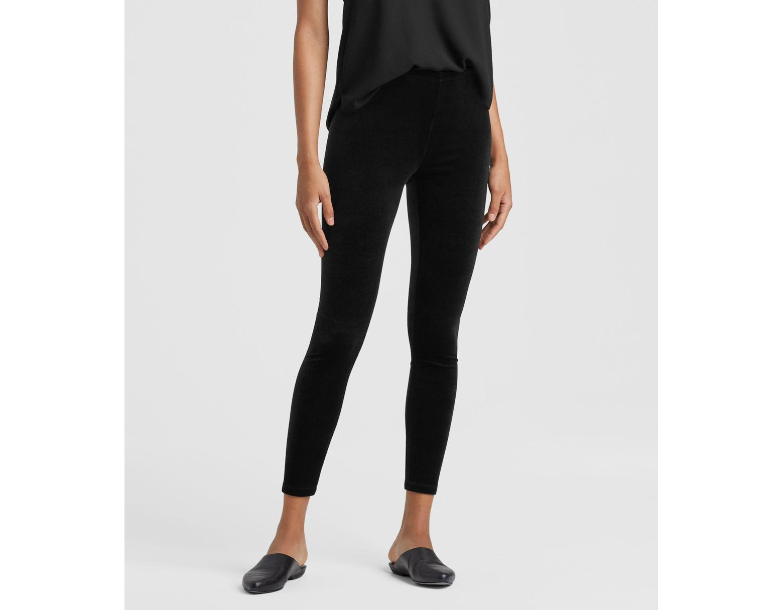 1d37536f80bfc Lyst - Eileen Fisher Stretchy Velvet Ankle Leggings in Black