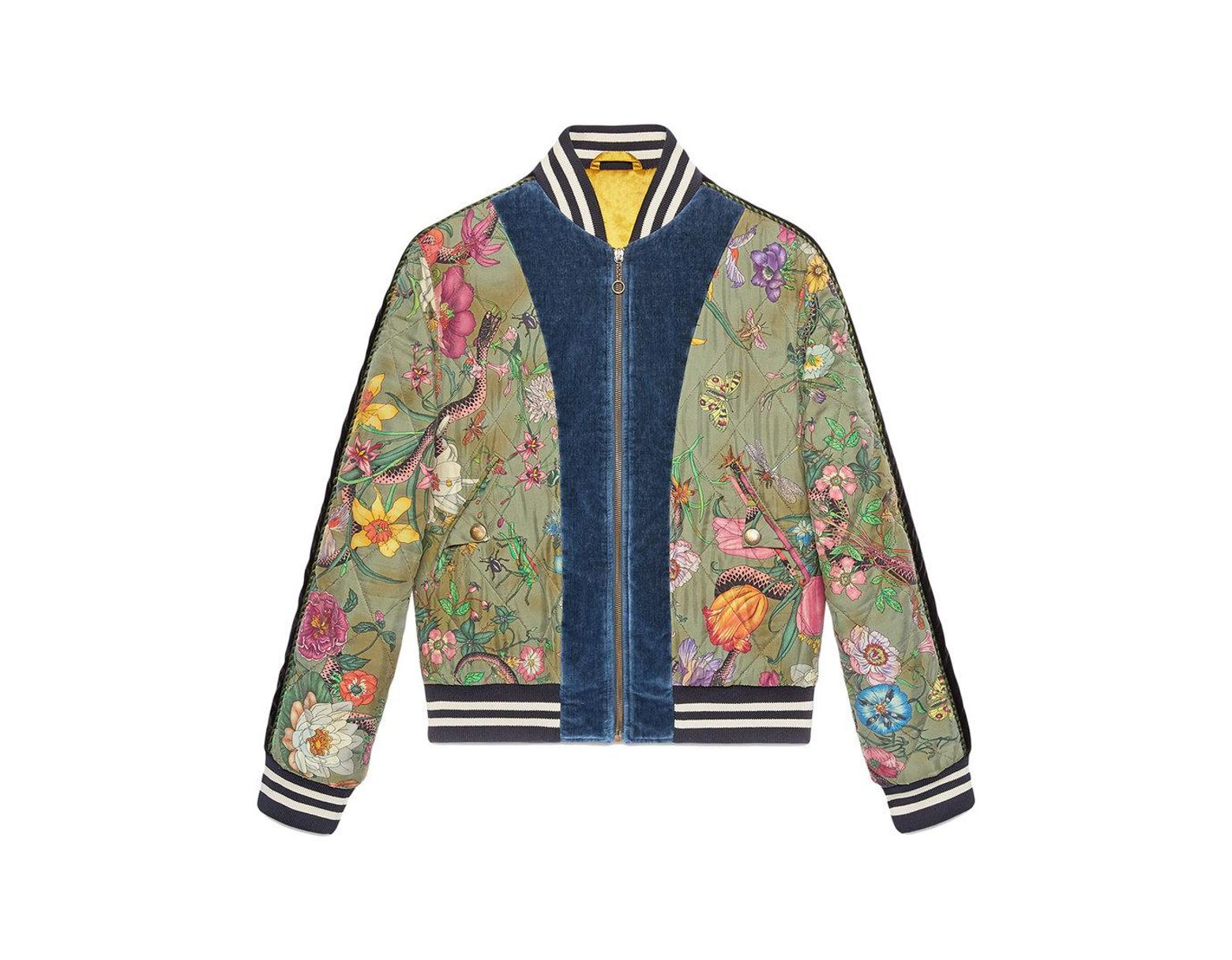 f09c1acf5 Gucci Flora Snake Print Silk Bomber Jacket in Green for Men - Lyst