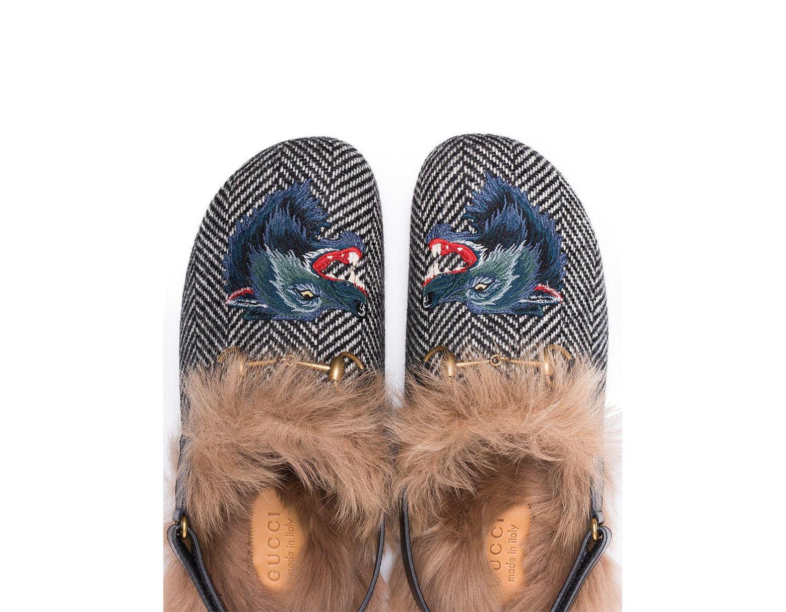 dfe6e3a9387 Lyst - Gucci Fur Herringbone Slippers With Wolf Head in Black for Men