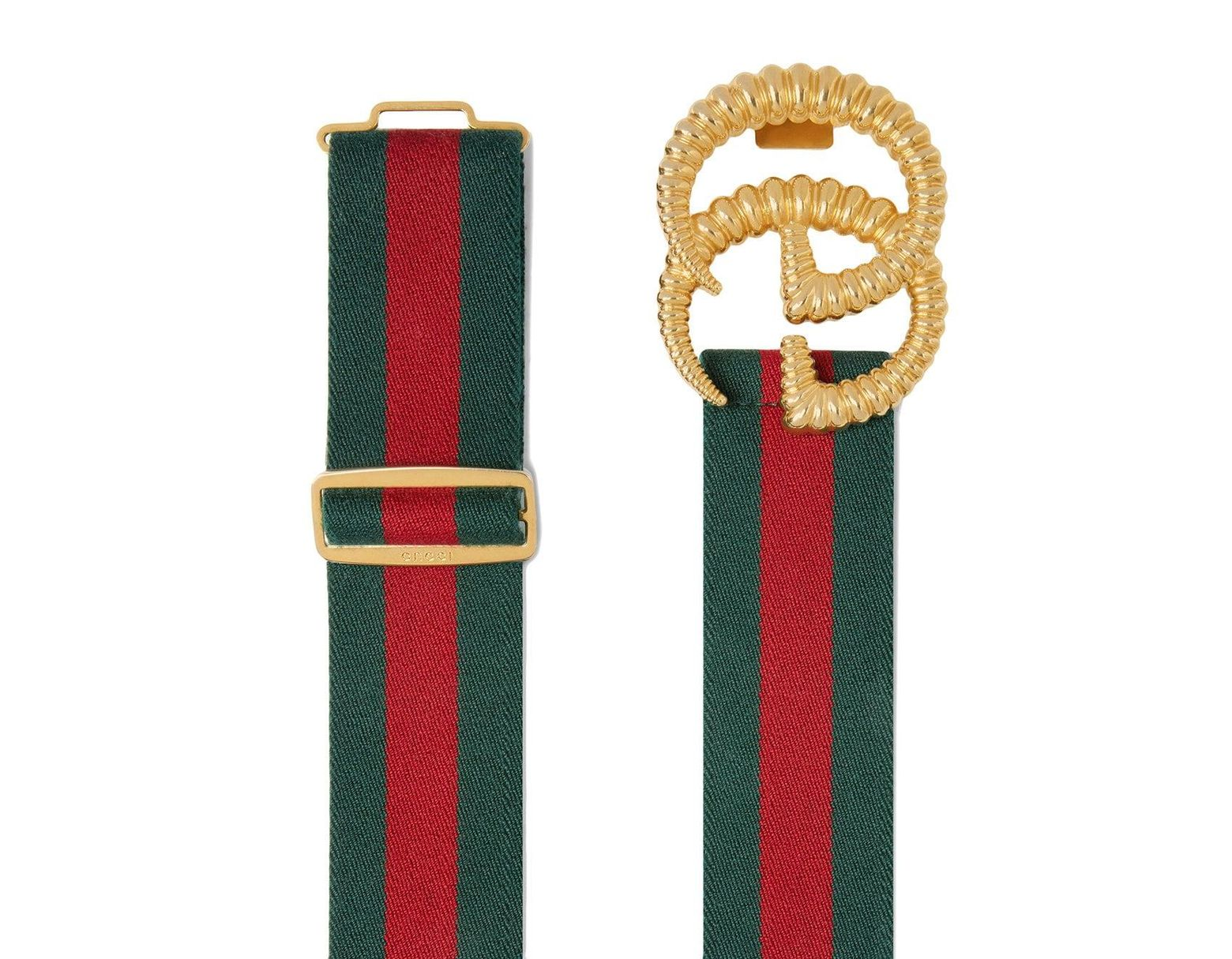 0280f479edb Lyst - Gucci Green And Red Web Elastic Belt With Torchon Double G Buckle in  Green - Save 31%