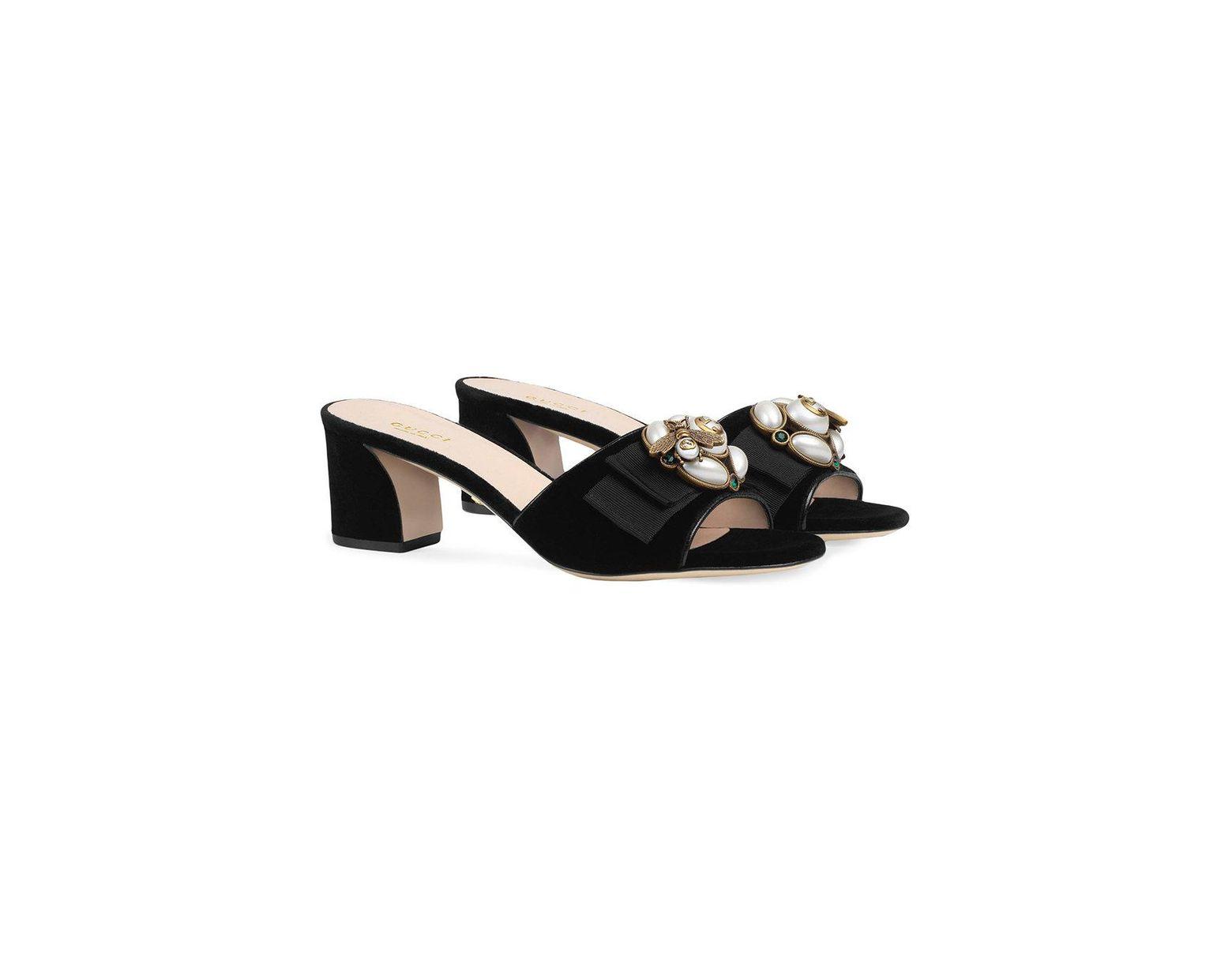 77cd40189 Gucci Velvet Mid-heel Slide With Bee in Black - Lyst