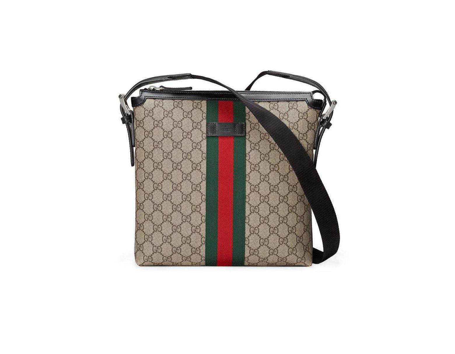 e76ab0c51e09 Gucci Web GG Supreme Messenger in Brown for Men - Lyst