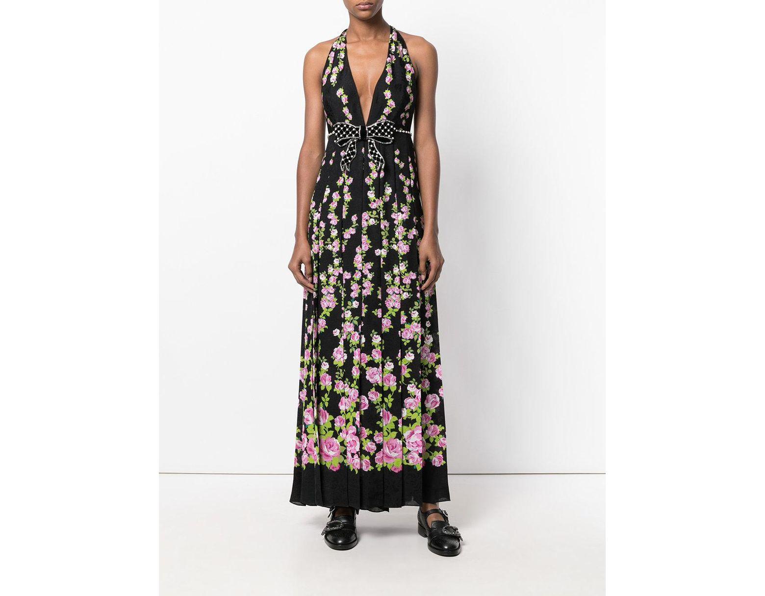 3693f3596 Gucci Halter Floral Print Maxi Dress in Black - Lyst