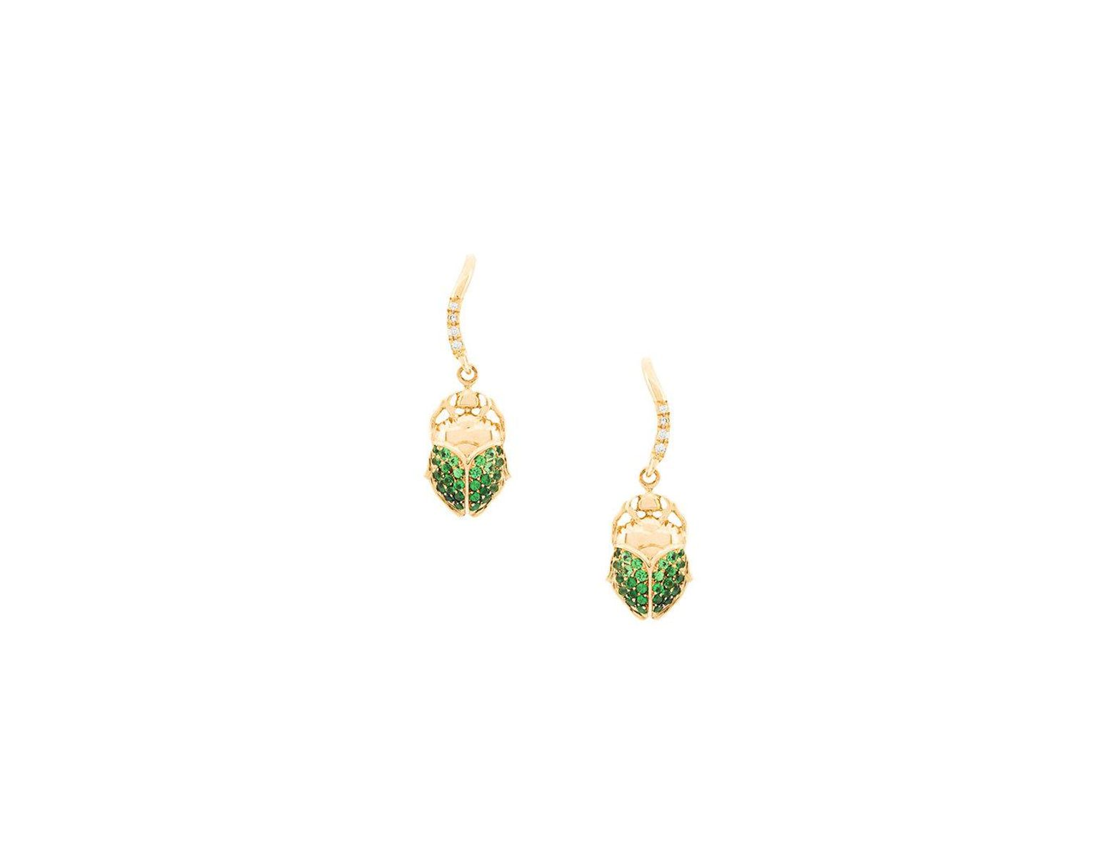 ea18b5771 Aurelie Bidermann 18kt Gold Mini Scarab Tsavorite And Diamond Earrings in  Metallic - Lyst