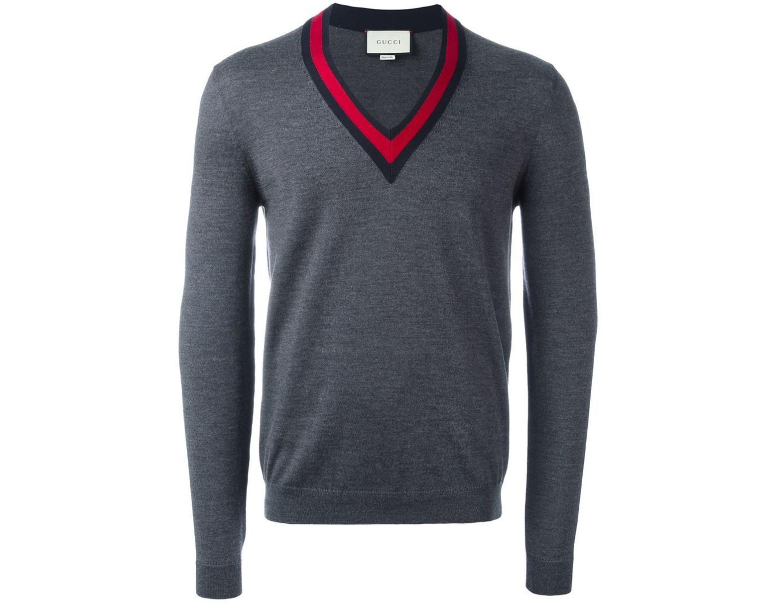 775e057fa79 Gucci Web Trim V-neck Jumper in Gray for Men - Lyst