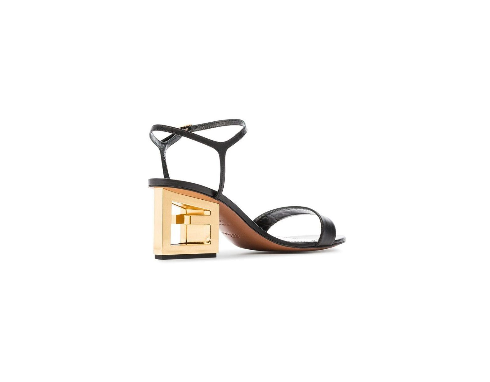 49e4aa305d1c9 Givenchy Black 60 Triangle Cutout Heel Leather Sandals in Black - Save 30%  - Lyst