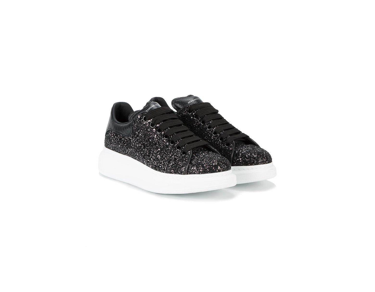 37124d054696 Alexander McQueen Black Glitter Platform Sneakers in Black - Save 15% - Lyst
